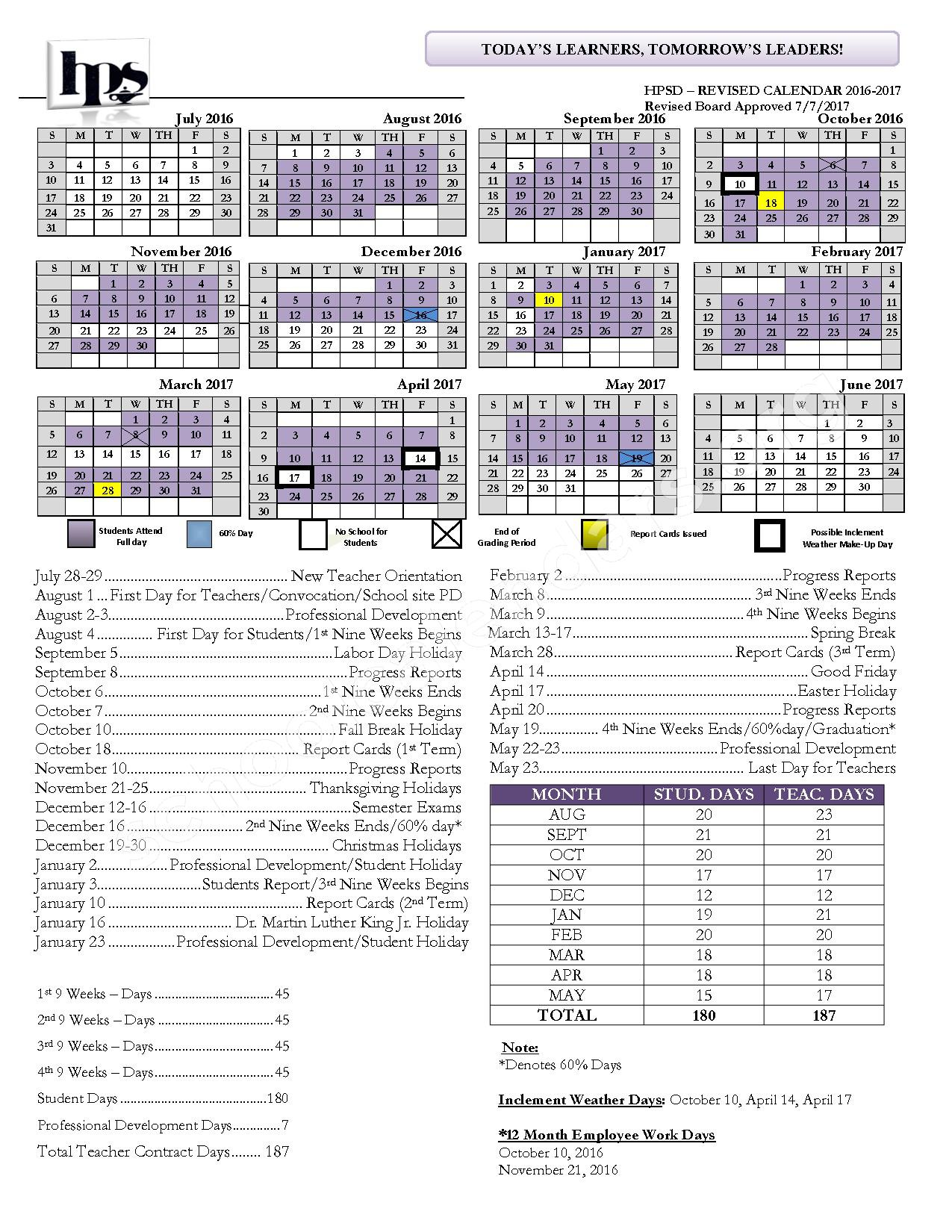 2016 - 2017 School Calendar – Hattiesburg Public School District – page 1