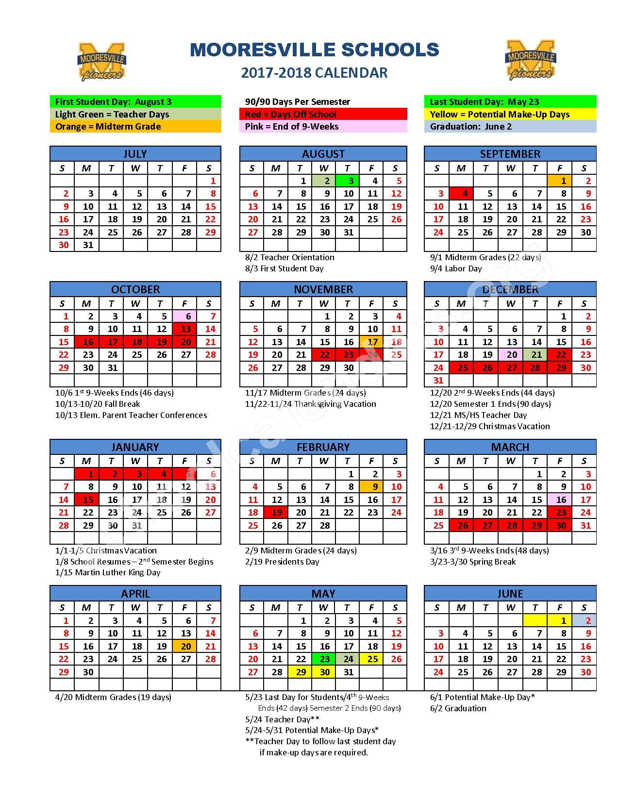 2017 - 2018 School Year Calendar – Mooresville Schools – page 1
