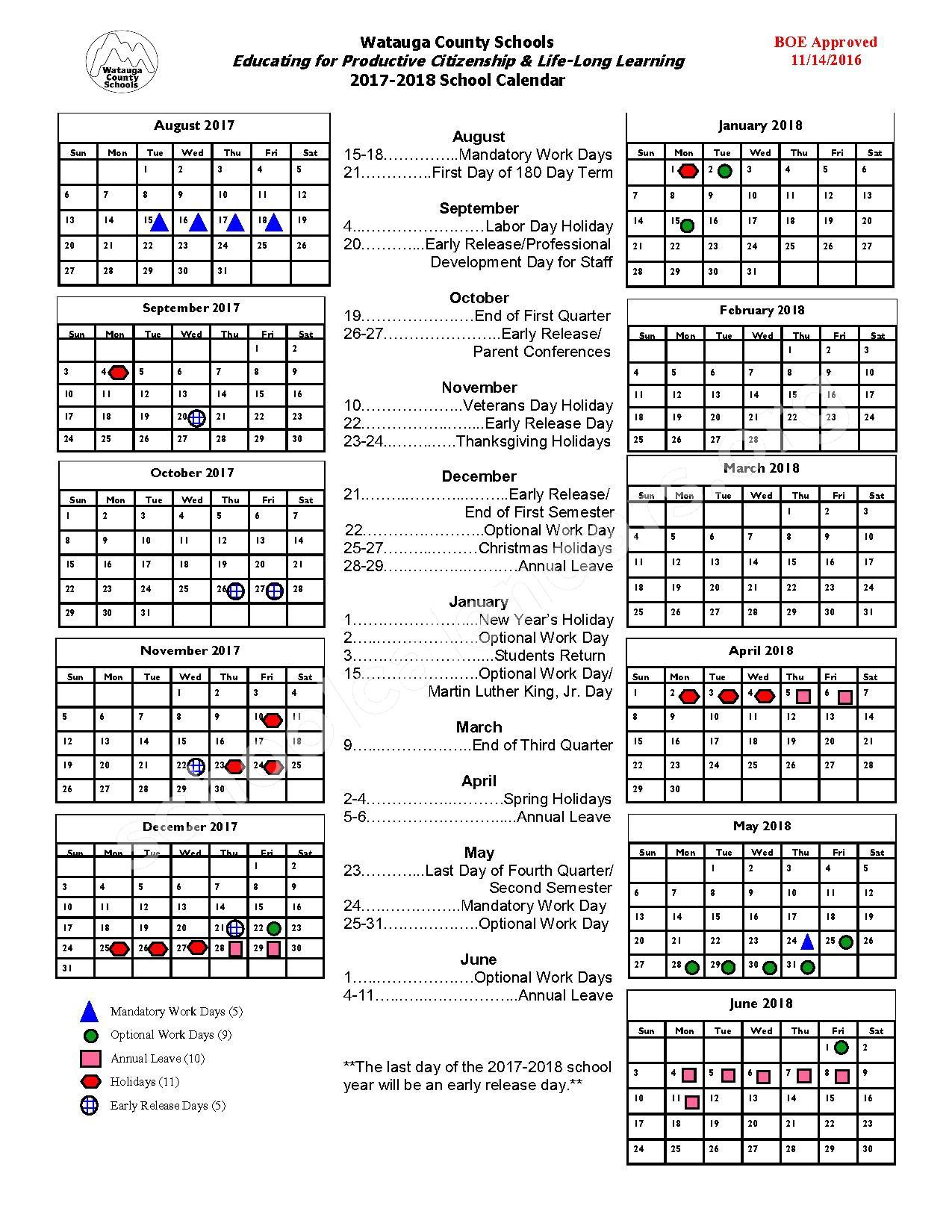2017 - 2018 School Calendar – Parkway Elementary School – page 1
