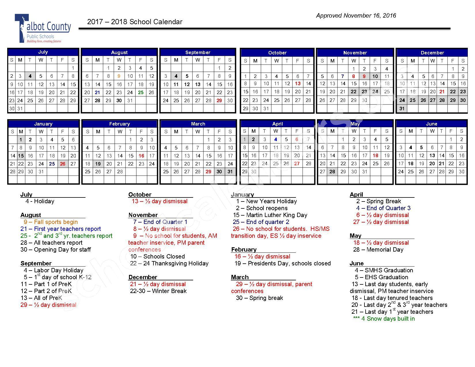 2017 - 2018 School Calendar – Talbot County Public Schools – page 1