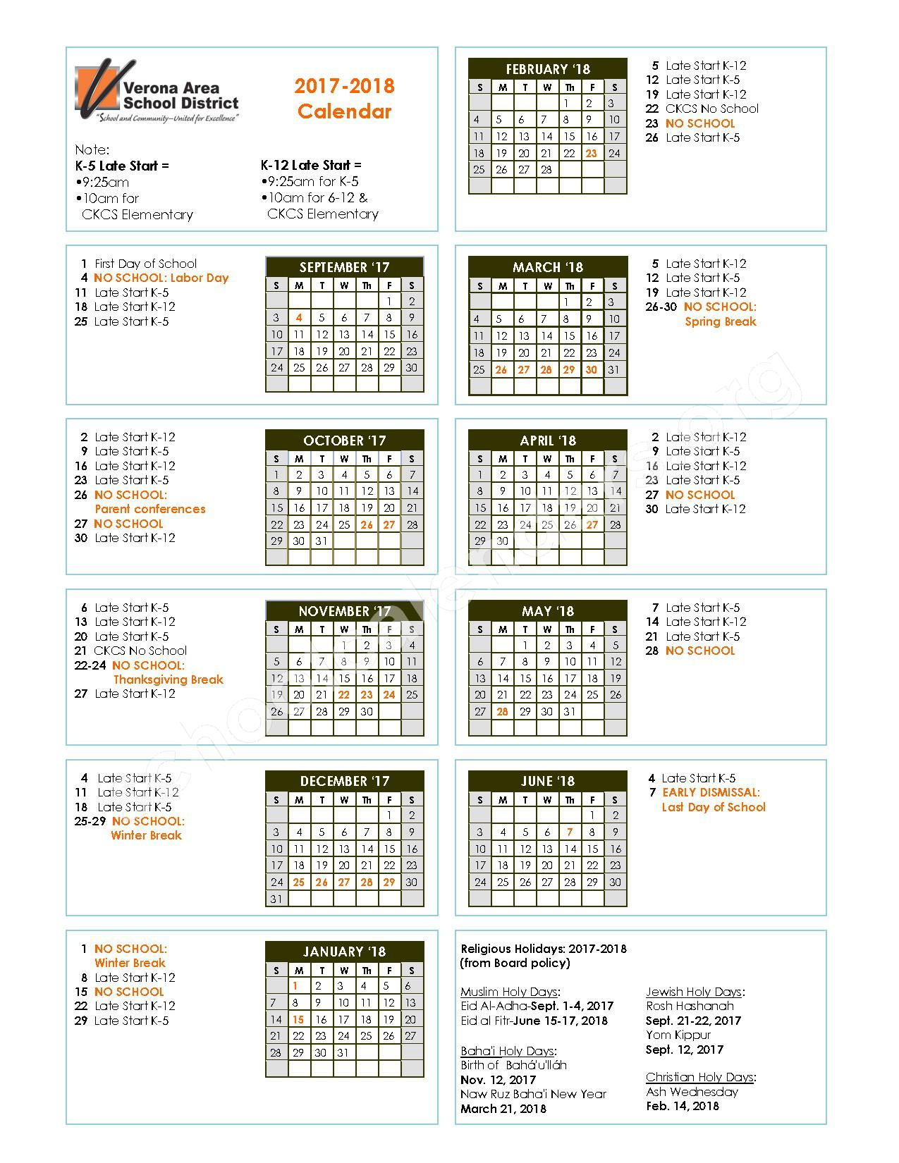 VASD 2017 - 2018 Calendar – Verona Area International School – page 1