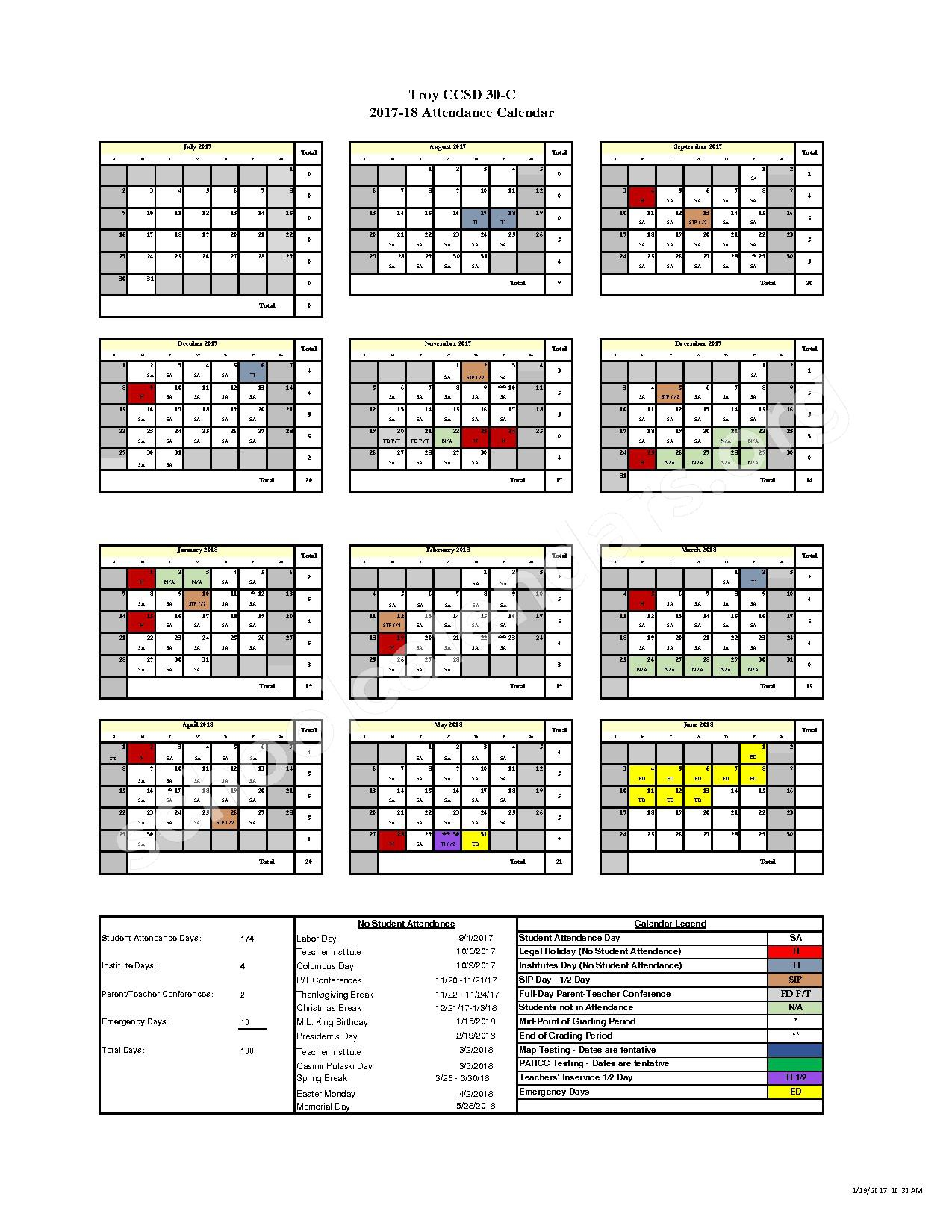 2017 - 2018 School Calendar – Troy Community Consolidated School District 30-C – page 1