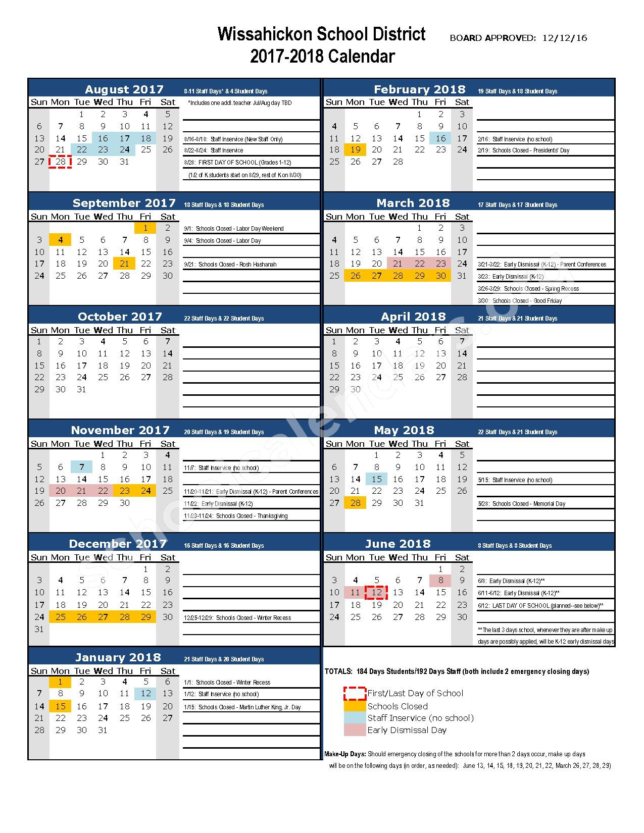 2017 - 2018 District Calendar – Lower Gwynedd Elementary School – page 1