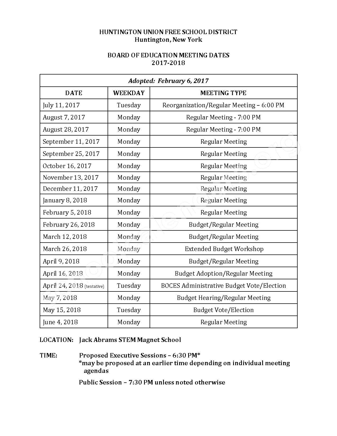 2017 - 2018 Board Meeting Calendar – Huntington Union Free School District – page 1