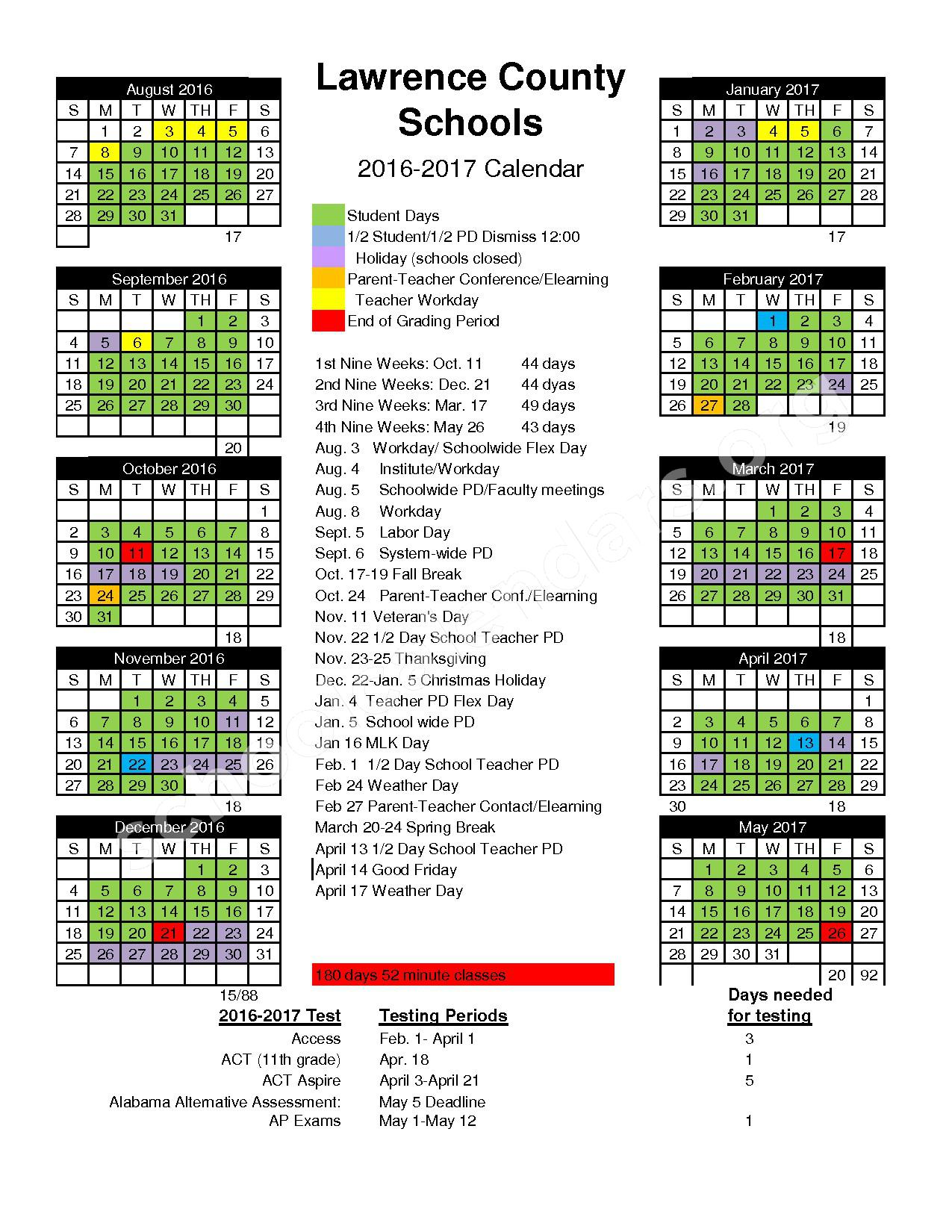 2016 - 2017 School Calendar – Speake High School – page 1