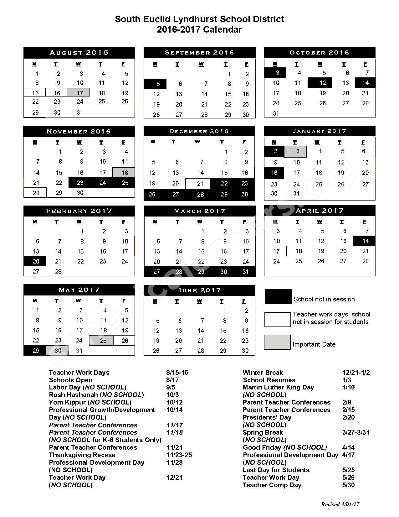 2016 - 2017 School Calendar – South Euclid-Lyndhurst Schools – page 1