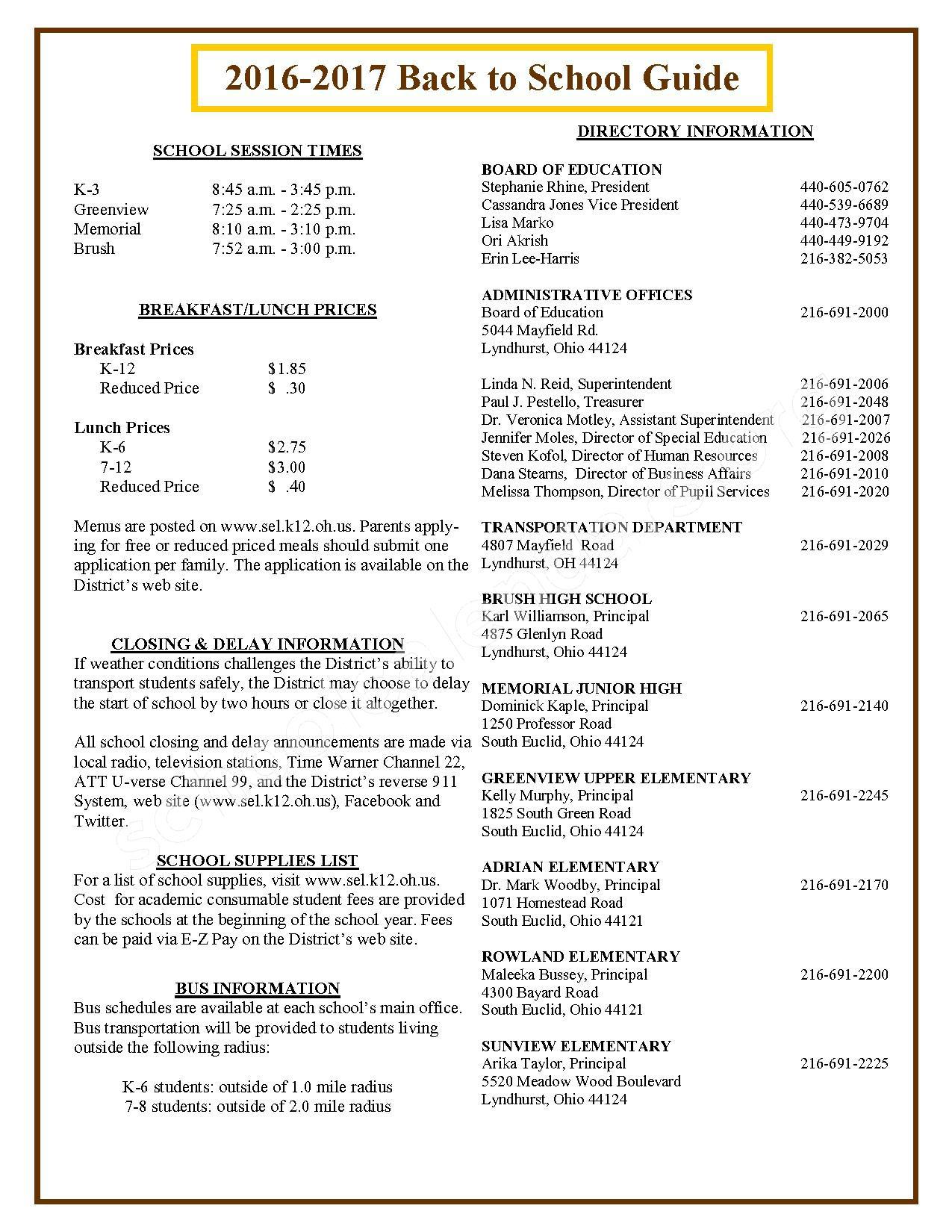 2016 - 2017 School Calendar – South Euclid-Lyndhurst Schools – page 2