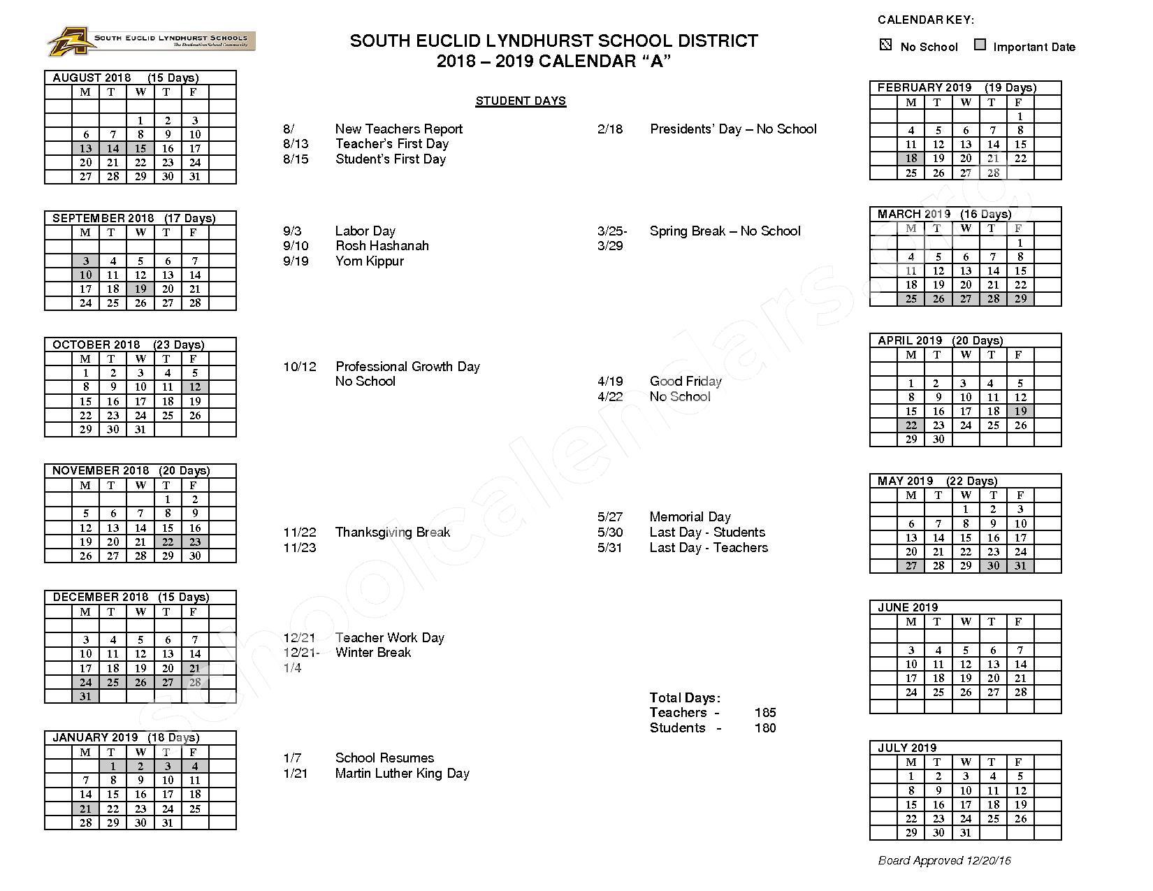 2018 - 2019 School Calendar – South Euclid-Lyndhurst Schools – page 1
