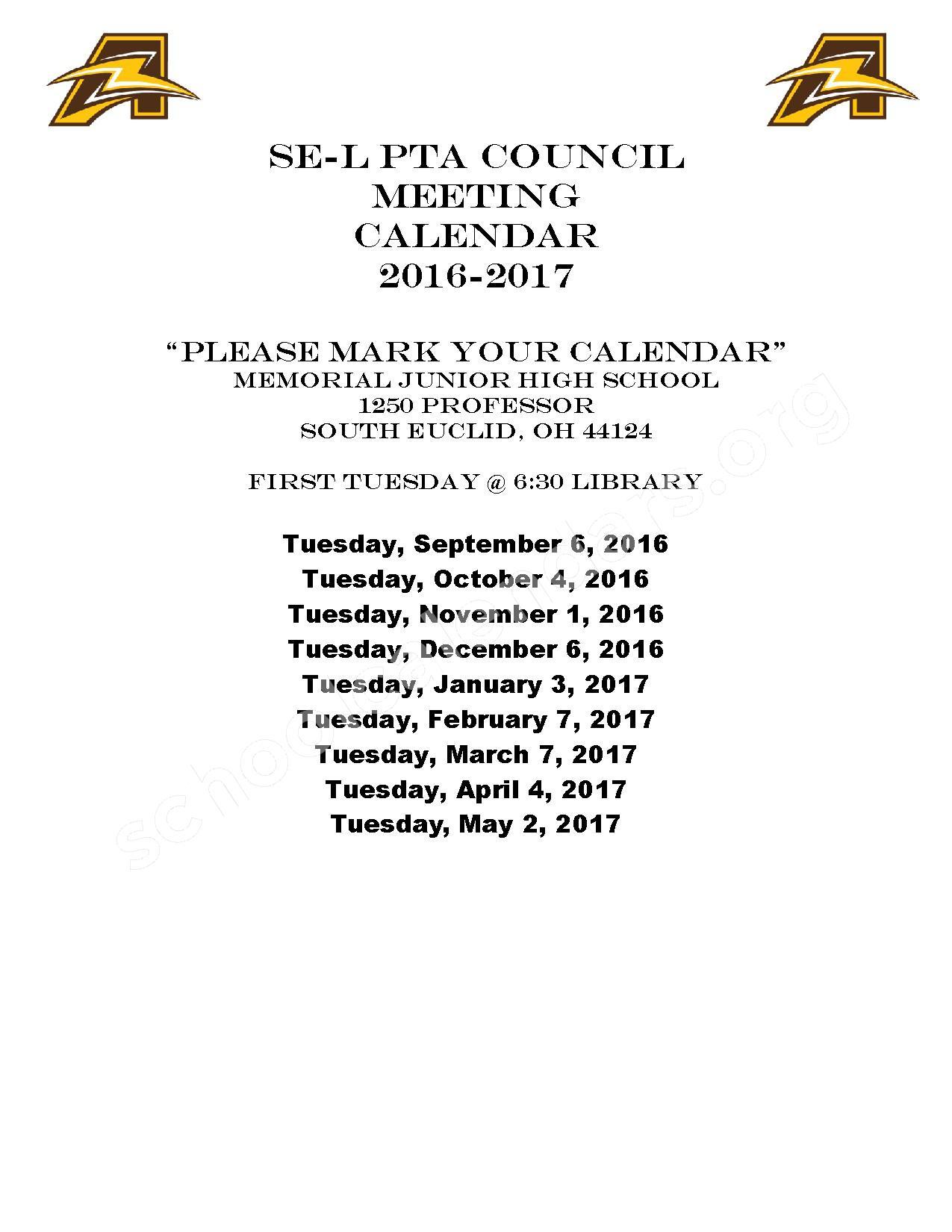2016 - 2017 School Calendar – Rowland Elementary School – page 1