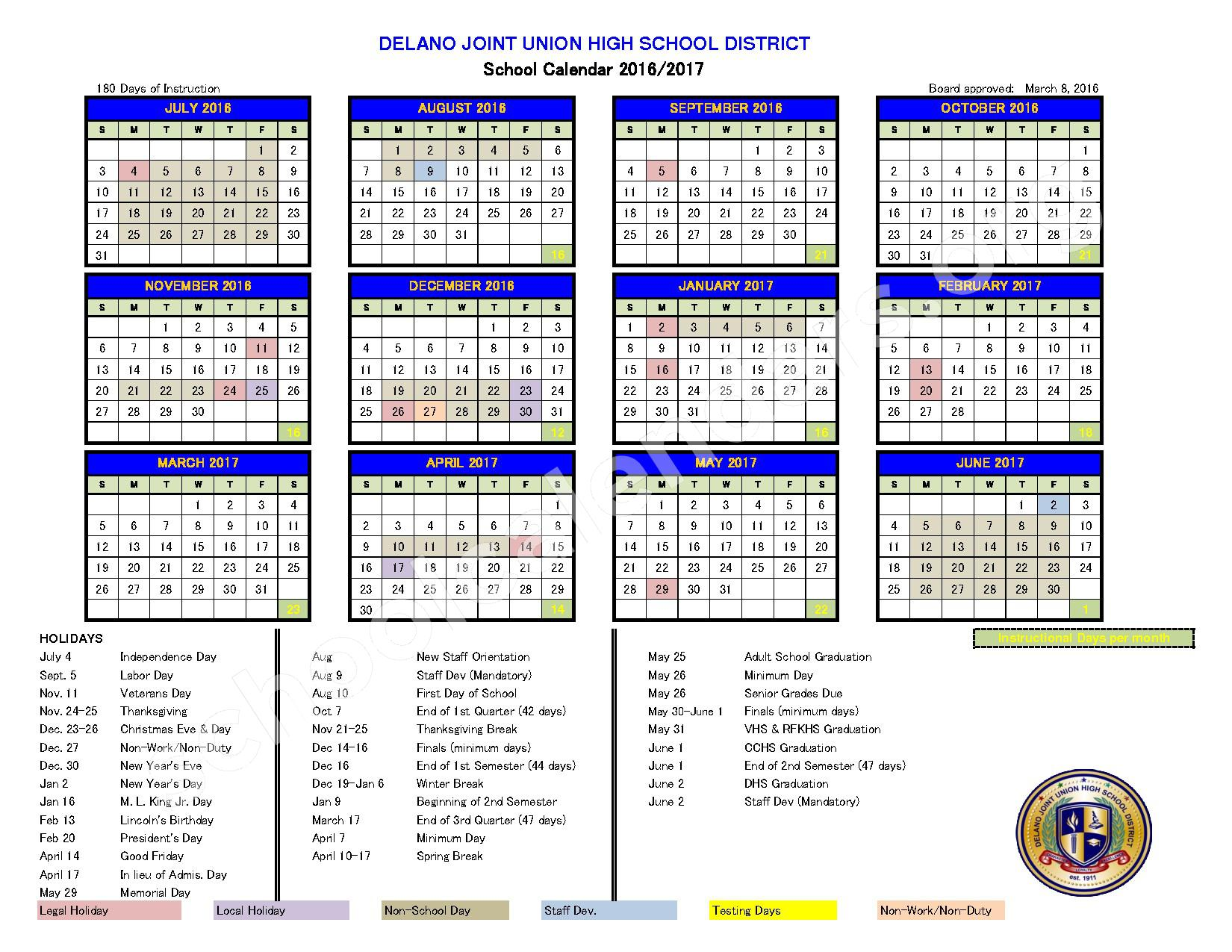 2016 - 2017 School Calendar – Delano Joint Union High School District – page 1