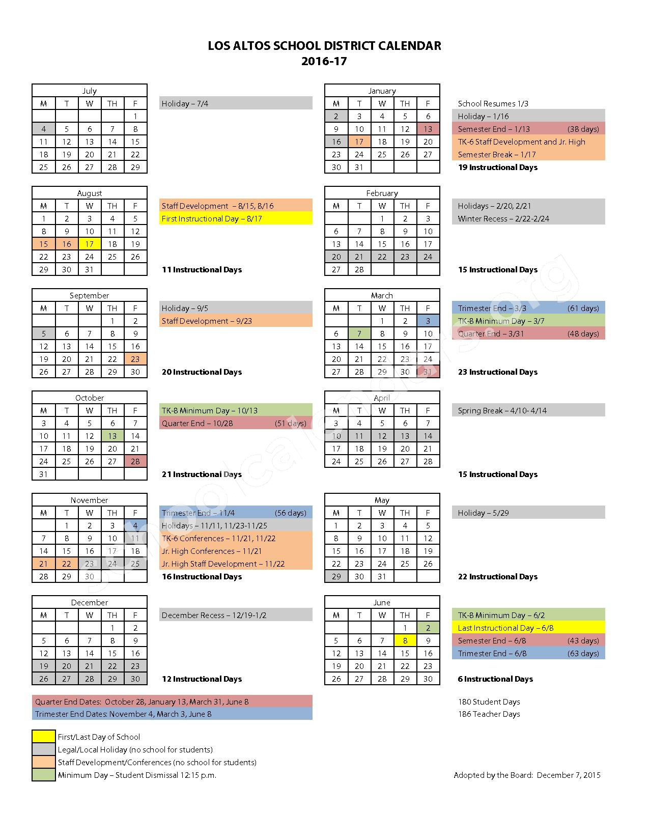 2016 - 2017 District Calendar – Almond Elementary School – page 1