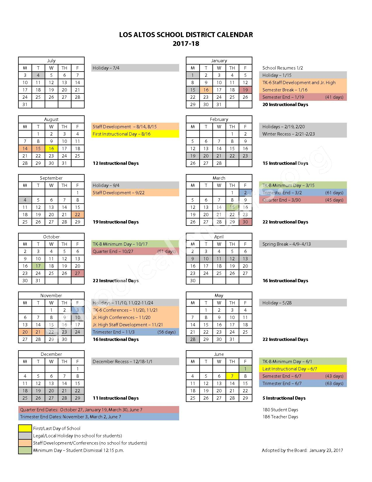 2017 - 2018 District Calendar – Los Altos School District – page 1