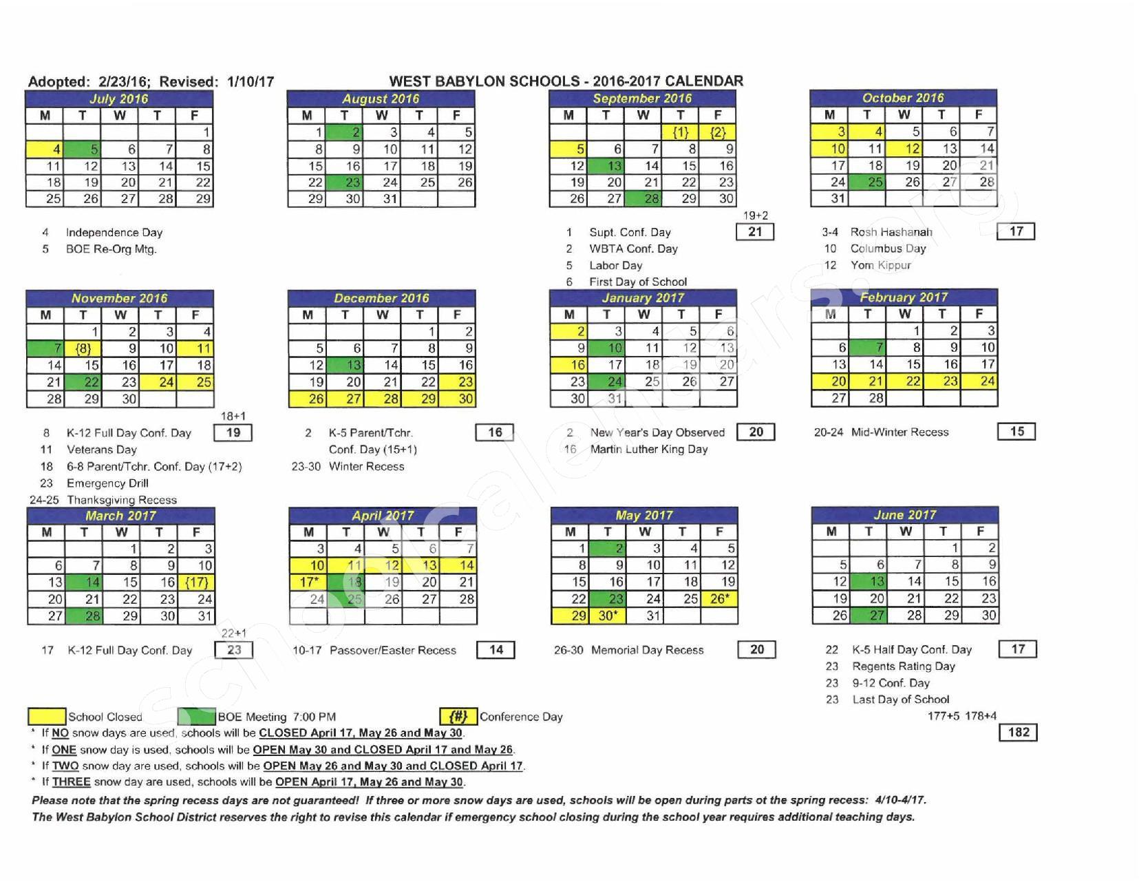 2016 - 2017 District Calendar – West Babylon Union Free School District – page 1