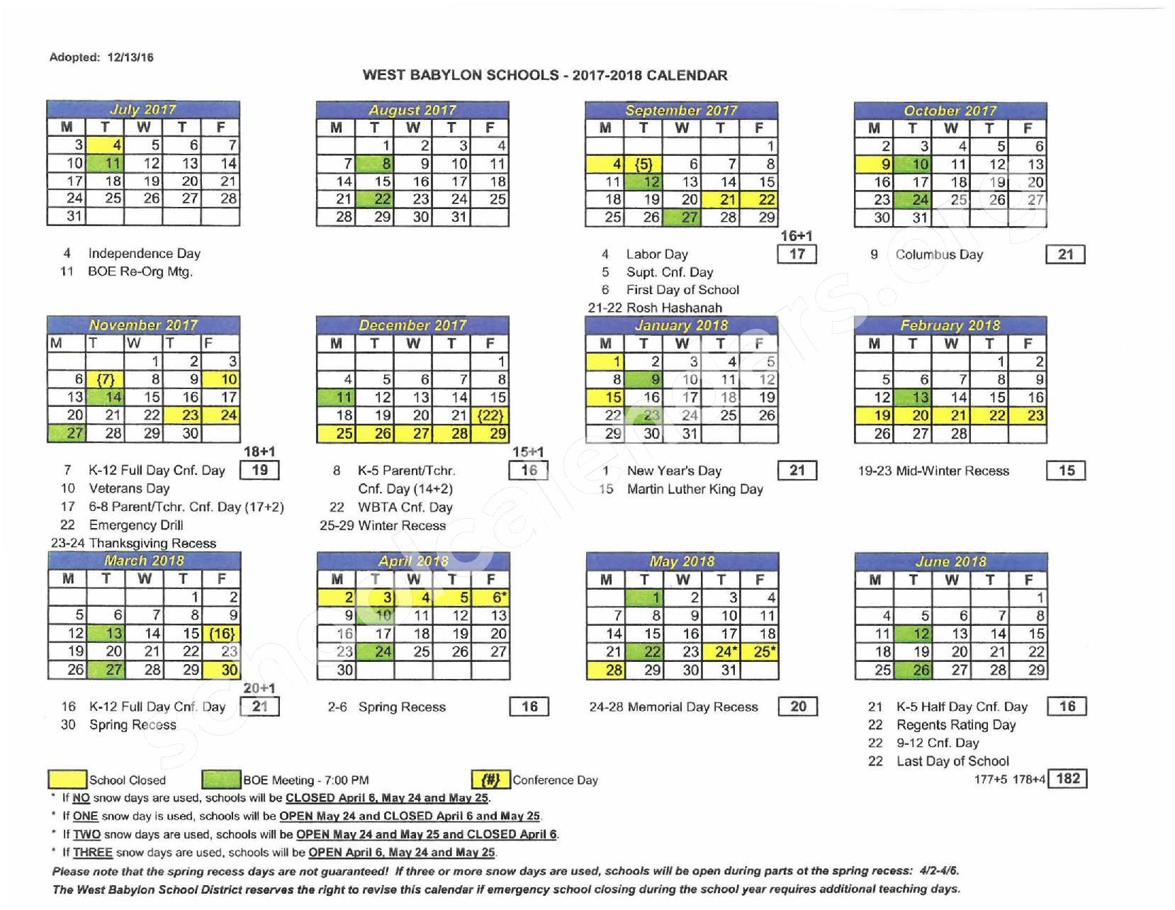 2017 - 2018 District Calendar – West Babylon Union Free School District – page 1