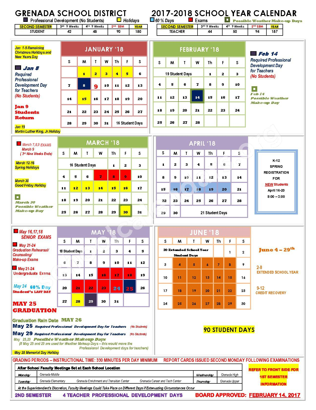 2017 - 2018 School Calendar – Grenada School District – page 2