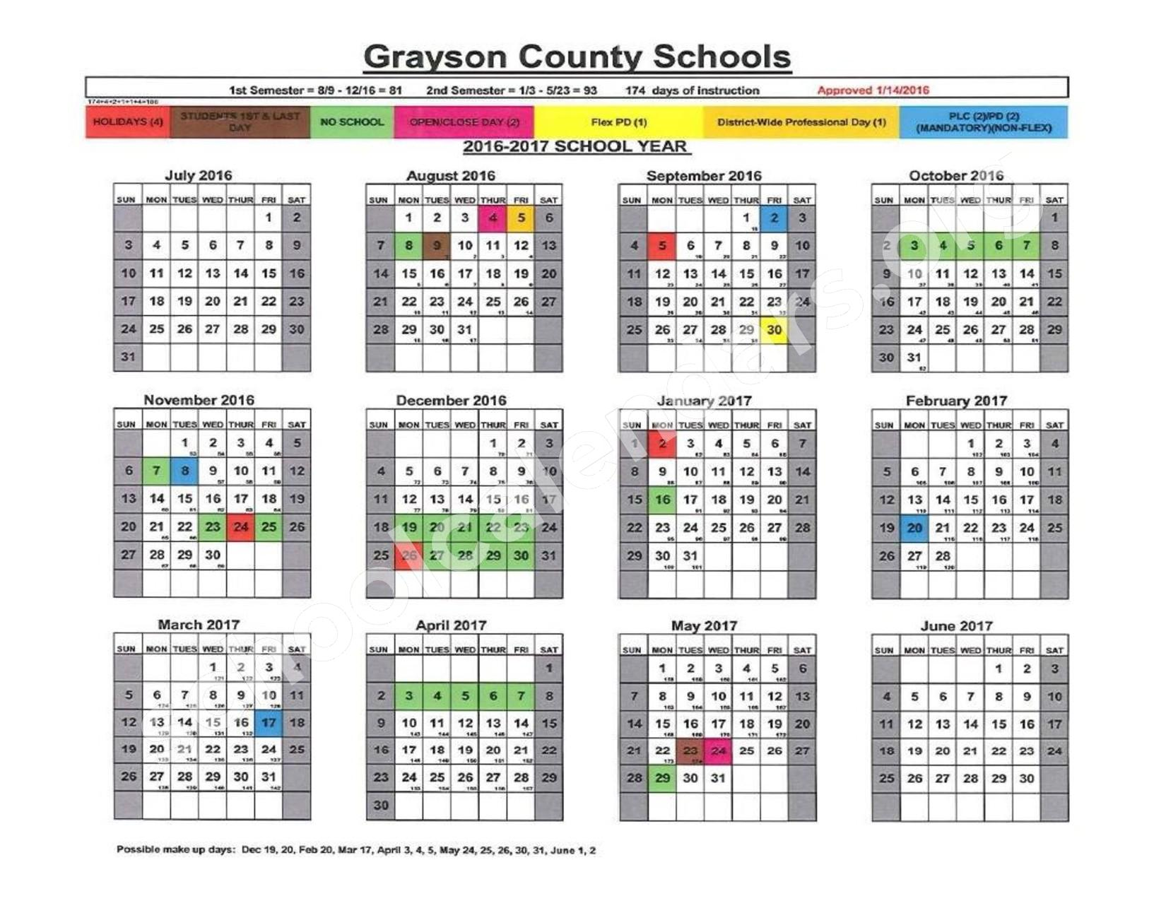 2016 - 2017 District Calendar – H W Wilkey Elementary School – page 1
