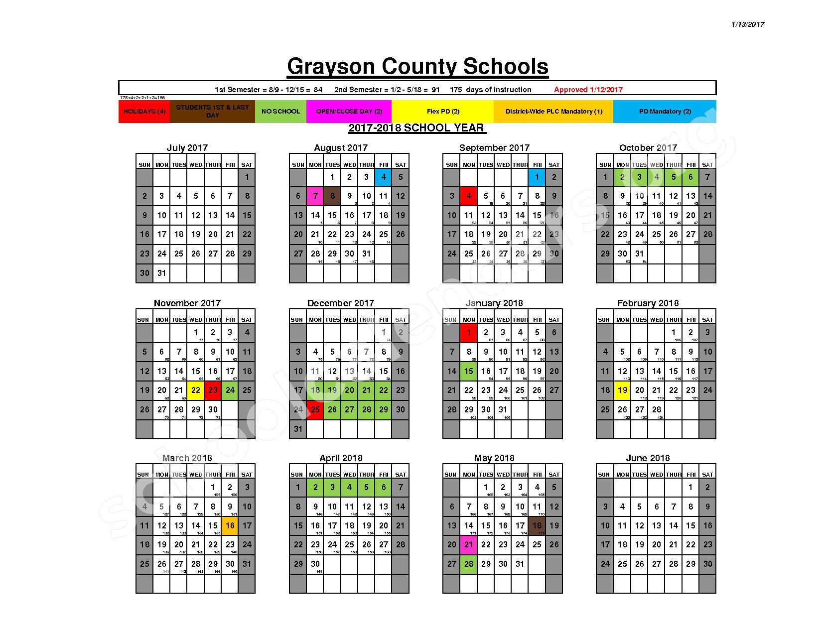 2017 - 2018 District Calendar – Grayson County Middle School – page 1