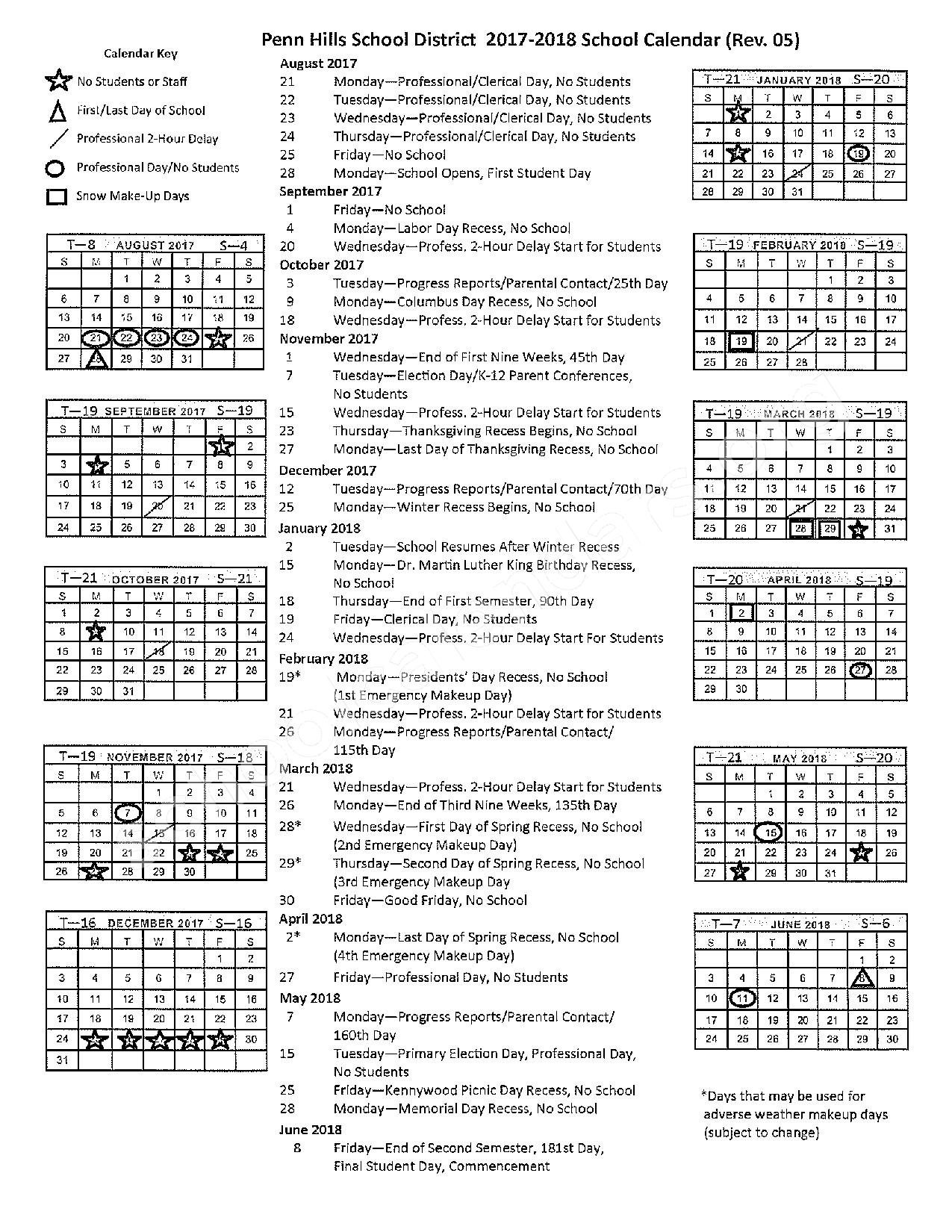 2017 - 2018 School Calendar – Penn Hills Senior High School – page 1