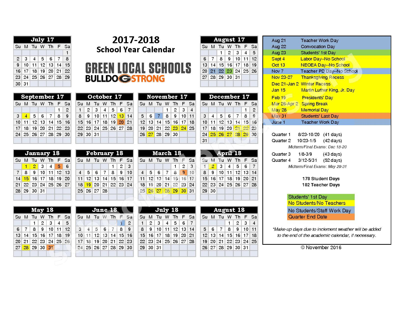 2017 - 2018 School Calendar – Green Local (Summit County) – page 1