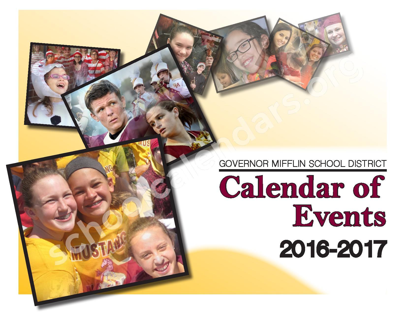 2016 - 2017 School Calendar – Governor Mifflin School District – page 1