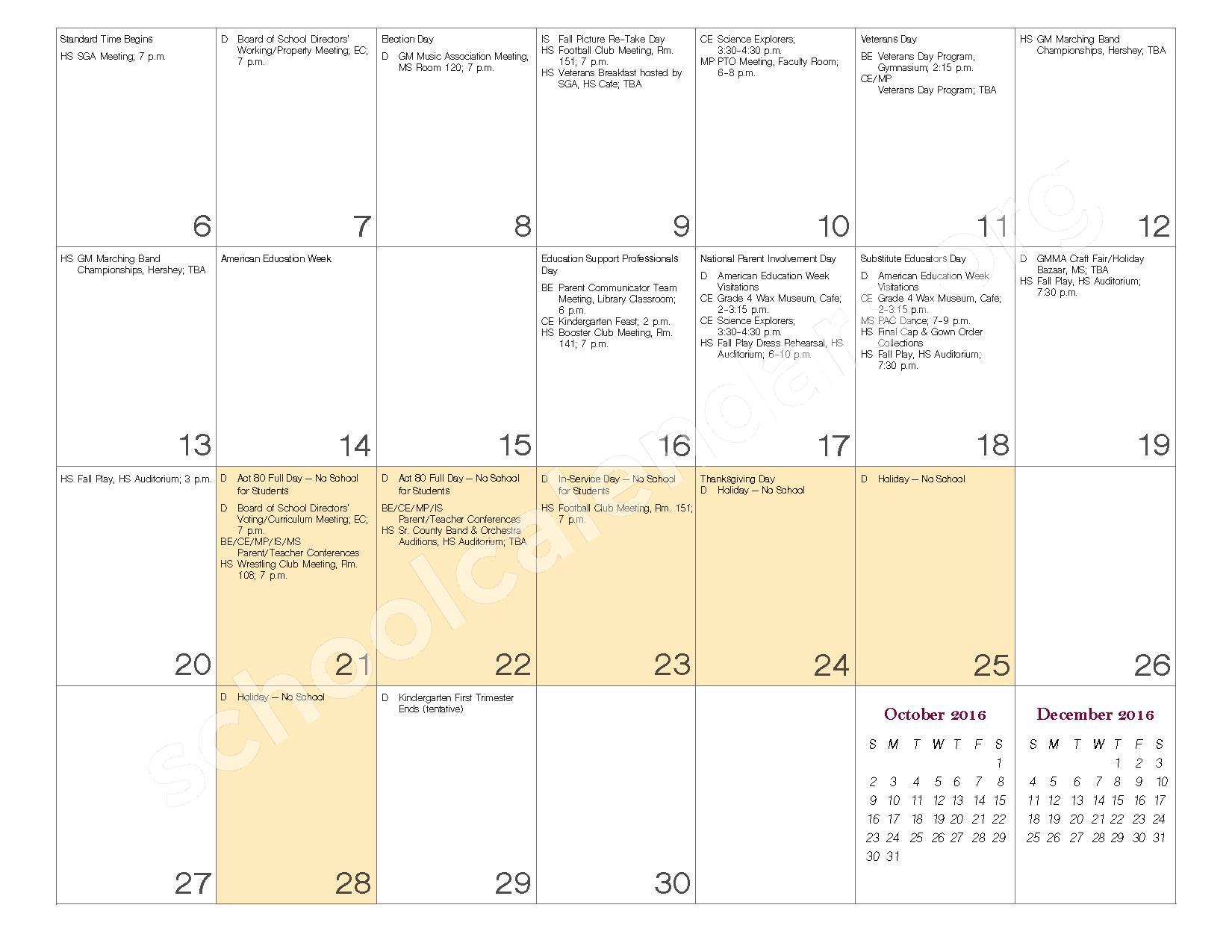 2016 - 2017 School Calendar – Governor Mifflin School District – page 10