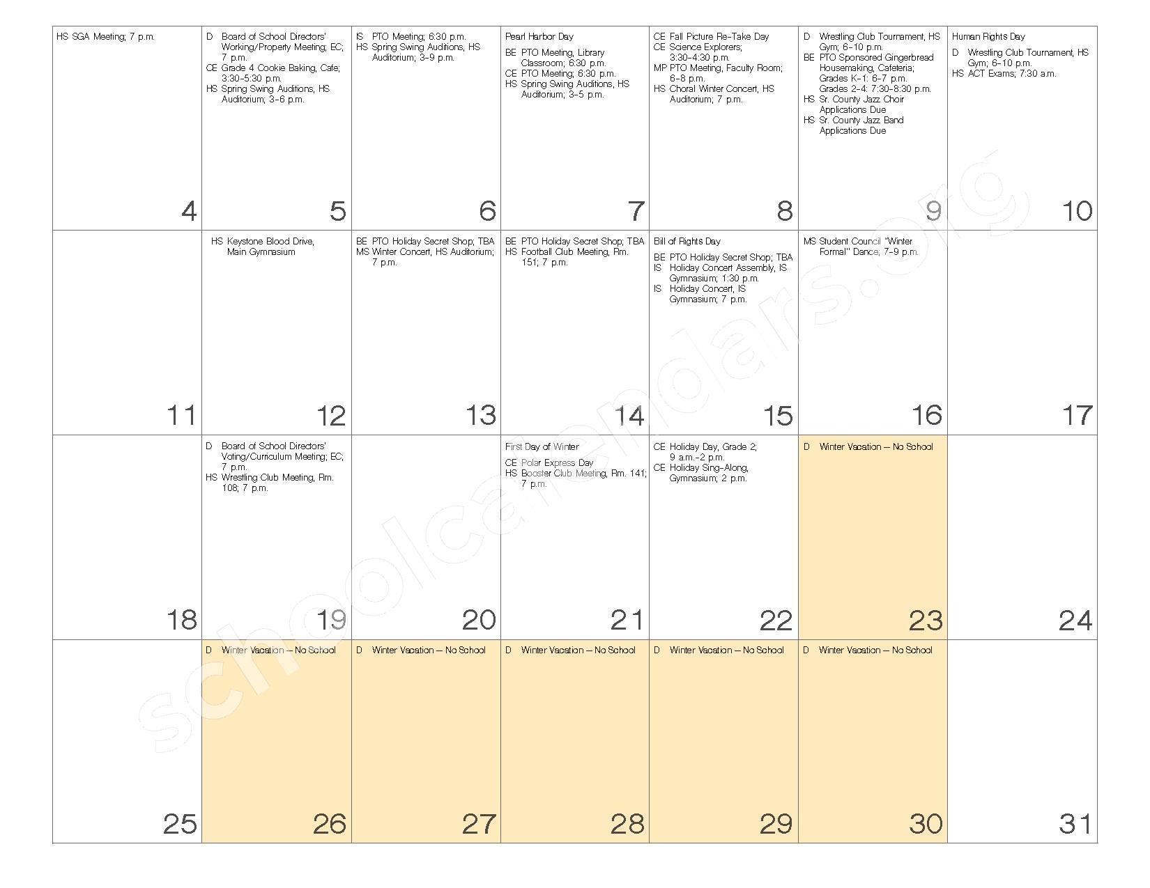 2016 - 2017 School Calendar – Governor Mifflin School District – page 12