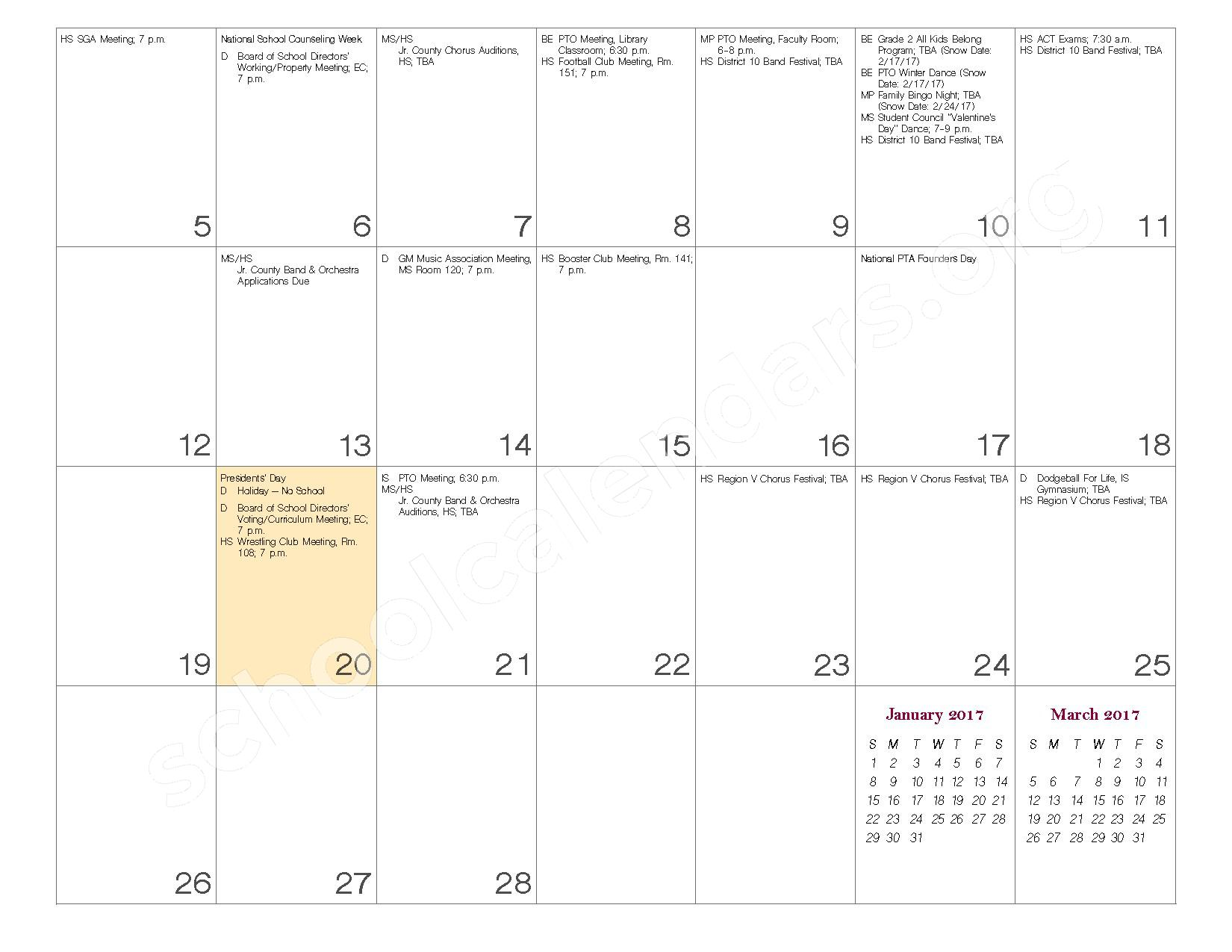 2016 - 2017 School Calendar – Governor Mifflin School District – page 16