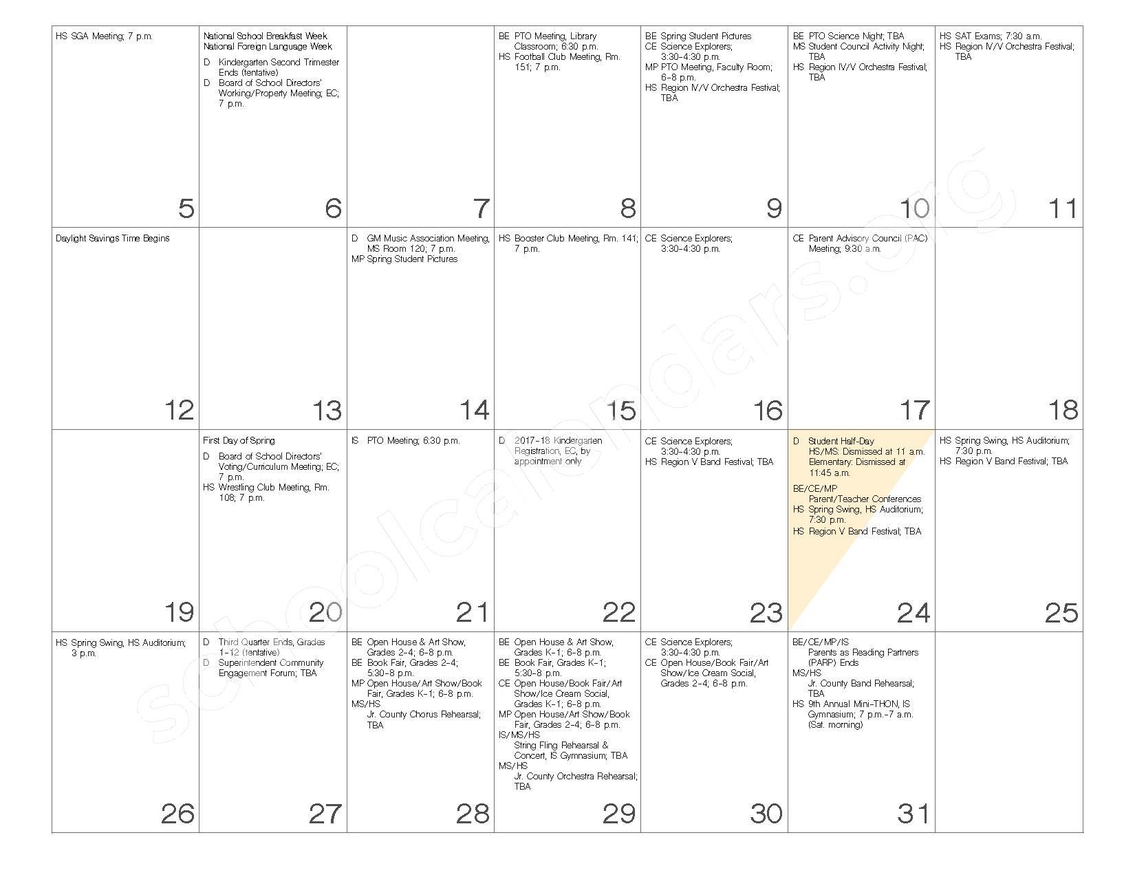 2016 - 2017 School Calendar – Governor Mifflin School District – page 18