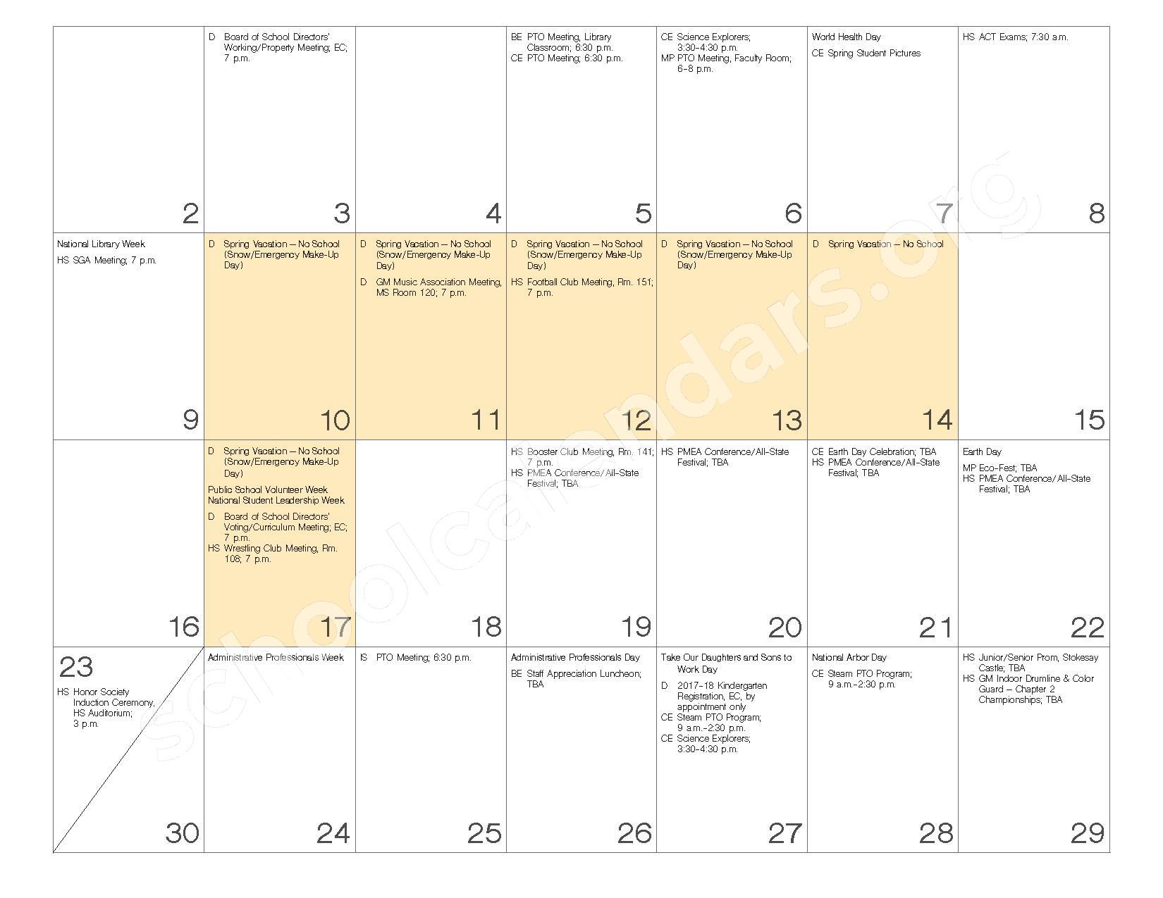 2016 - 2017 School Calendar – Governor Mifflin School District – page 20