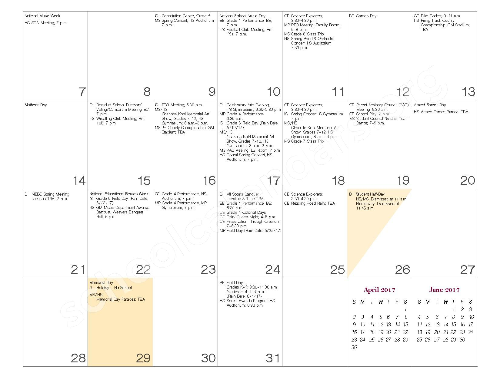 2016 - 2017 School Calendar – Governor Mifflin School District – page 22