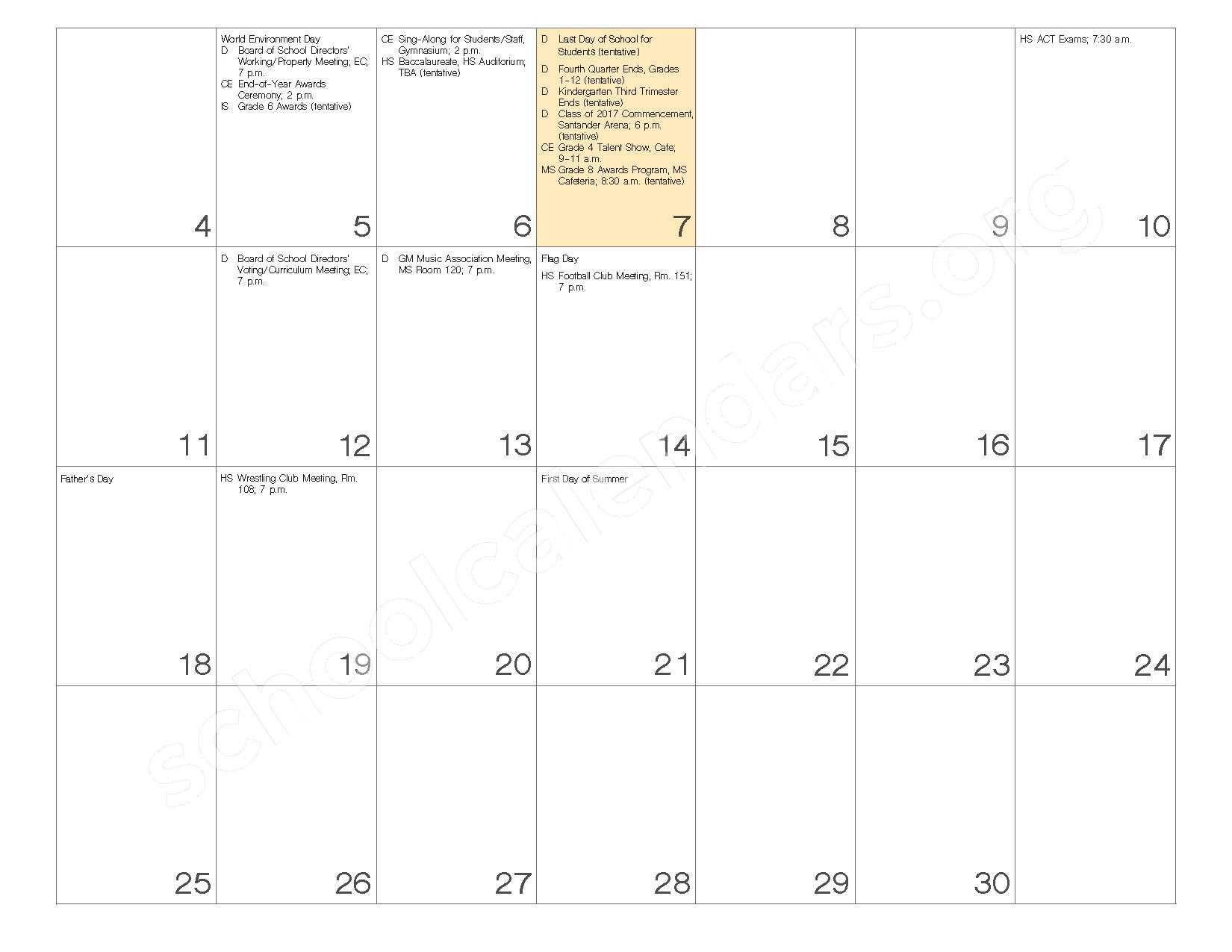 2016 - 2017 School Calendar – Governor Mifflin School District – page 24