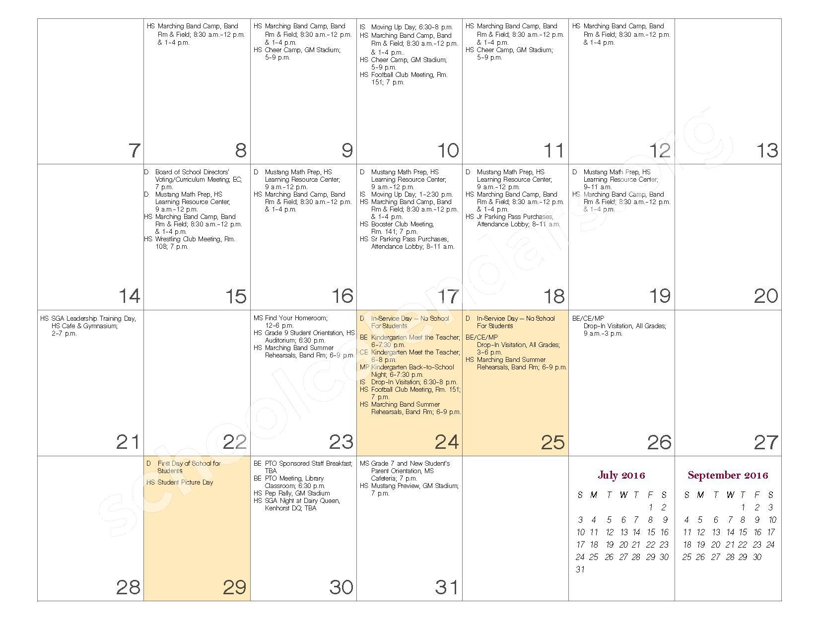 2016 - 2017 School Calendar – Governor Mifflin School District – page 4