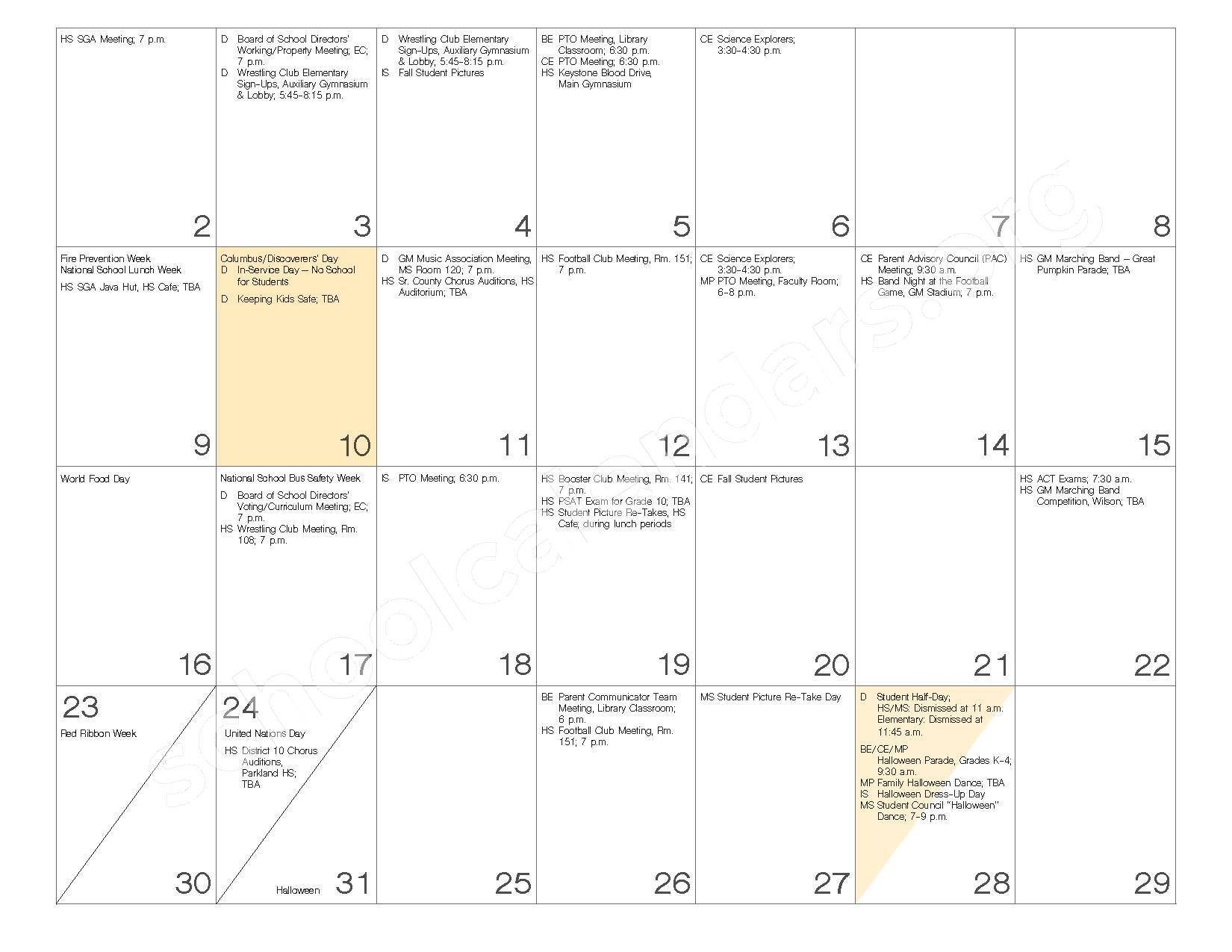 2016 - 2017 School Calendar – Governor Mifflin School District – page 8