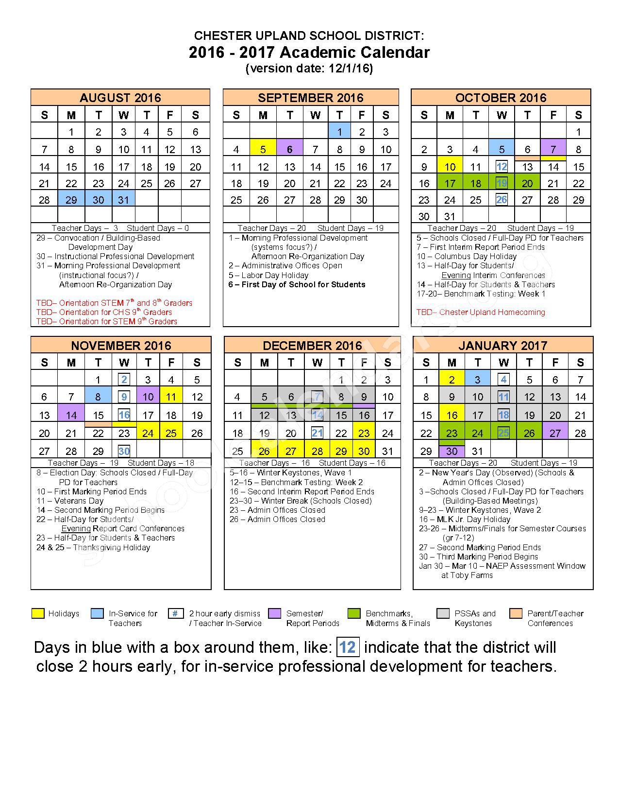 2016 - 2017 School Calendar – The Village at Chester Upland – page 1