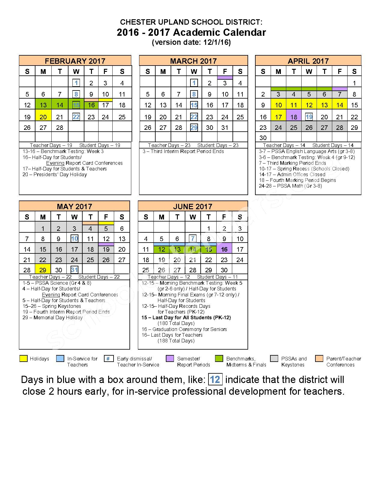 2016 - 2017 School Calendar – The Village at Chester Upland – page 2