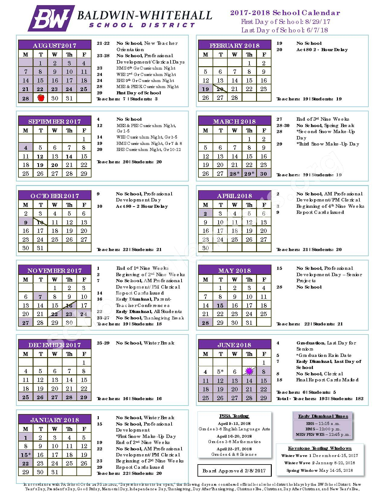 2017 - 2018 District Calendar – McAnnulty Elementary School – page 1