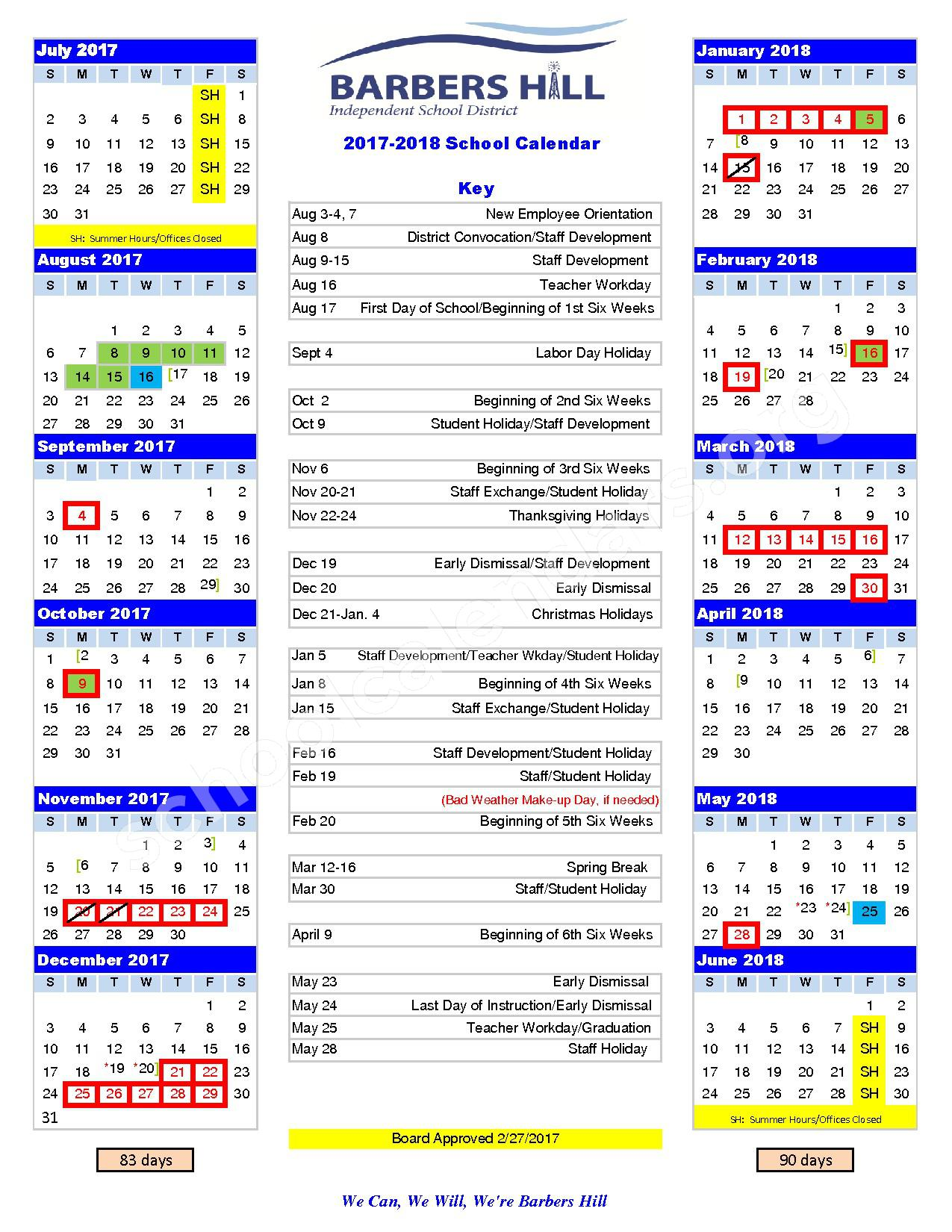 2017 - 2018 District Calendar – Barbers Hill Independent School District – page 1