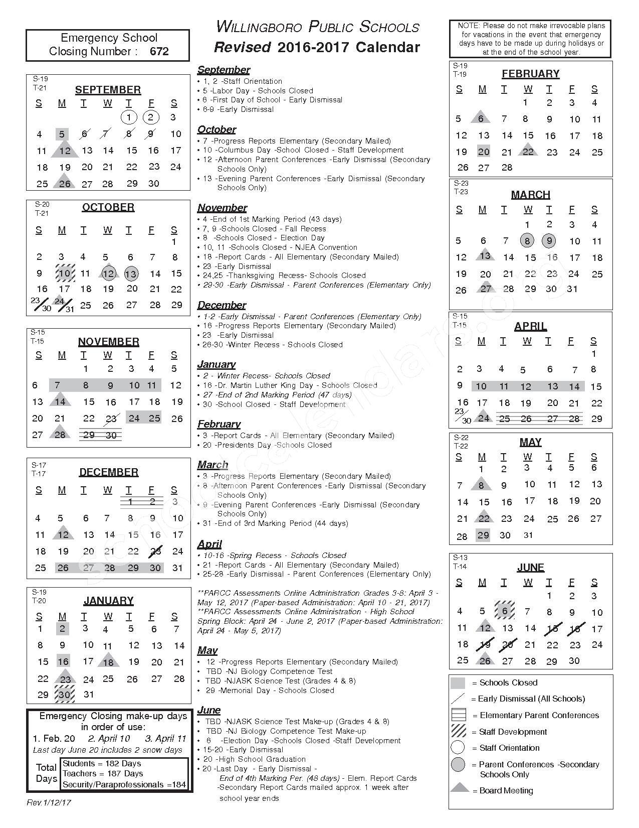 2016 - 2017 Calendar – Willingboro Township Public Schools – page 1