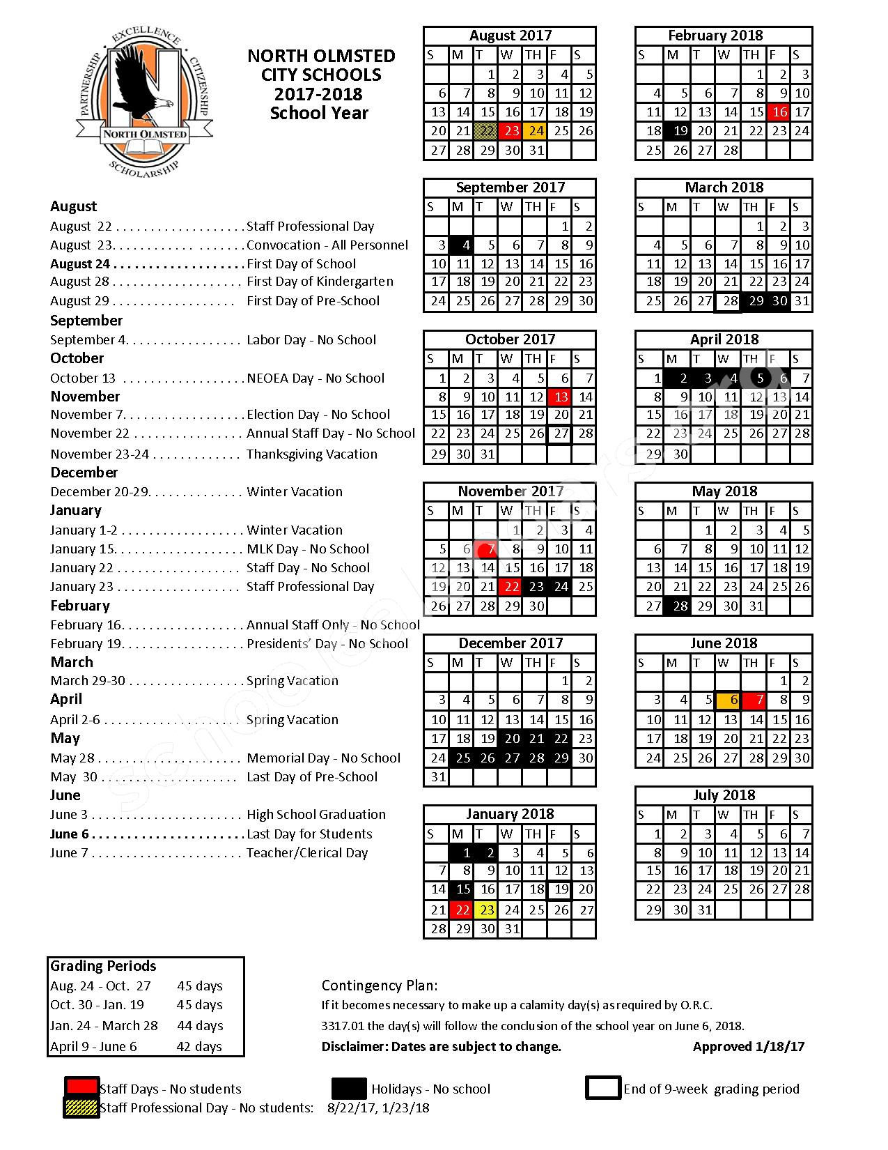 2017 - 2018 School Calendar – North Olmsted City Schools – page 1