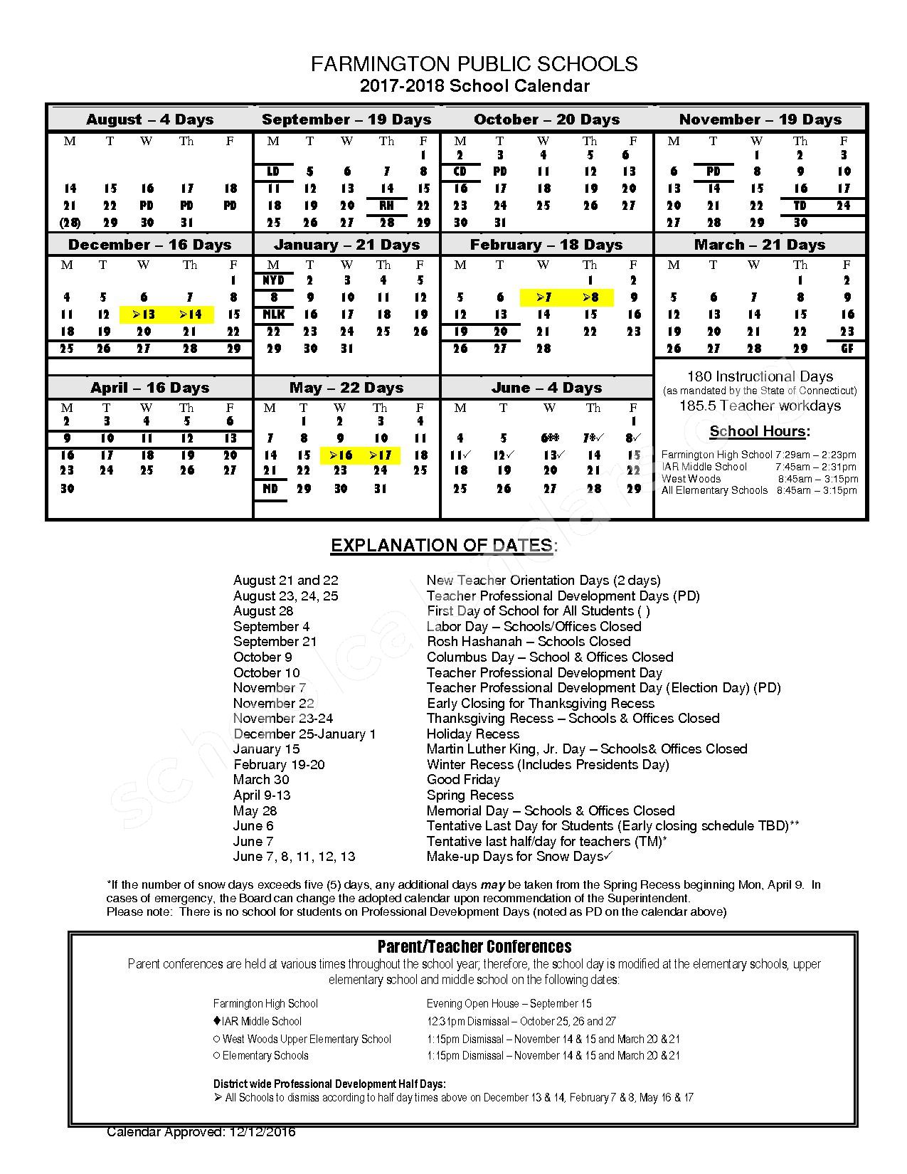 2017 - 2018 Official School Calendar page 1
