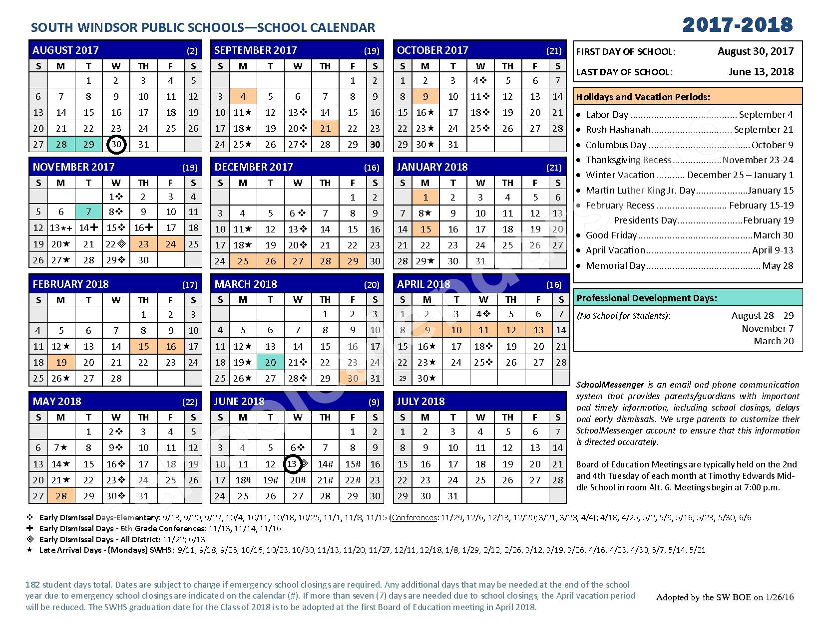 2017 - 2018 District Calendar – South Windsor Public Schools – page 1