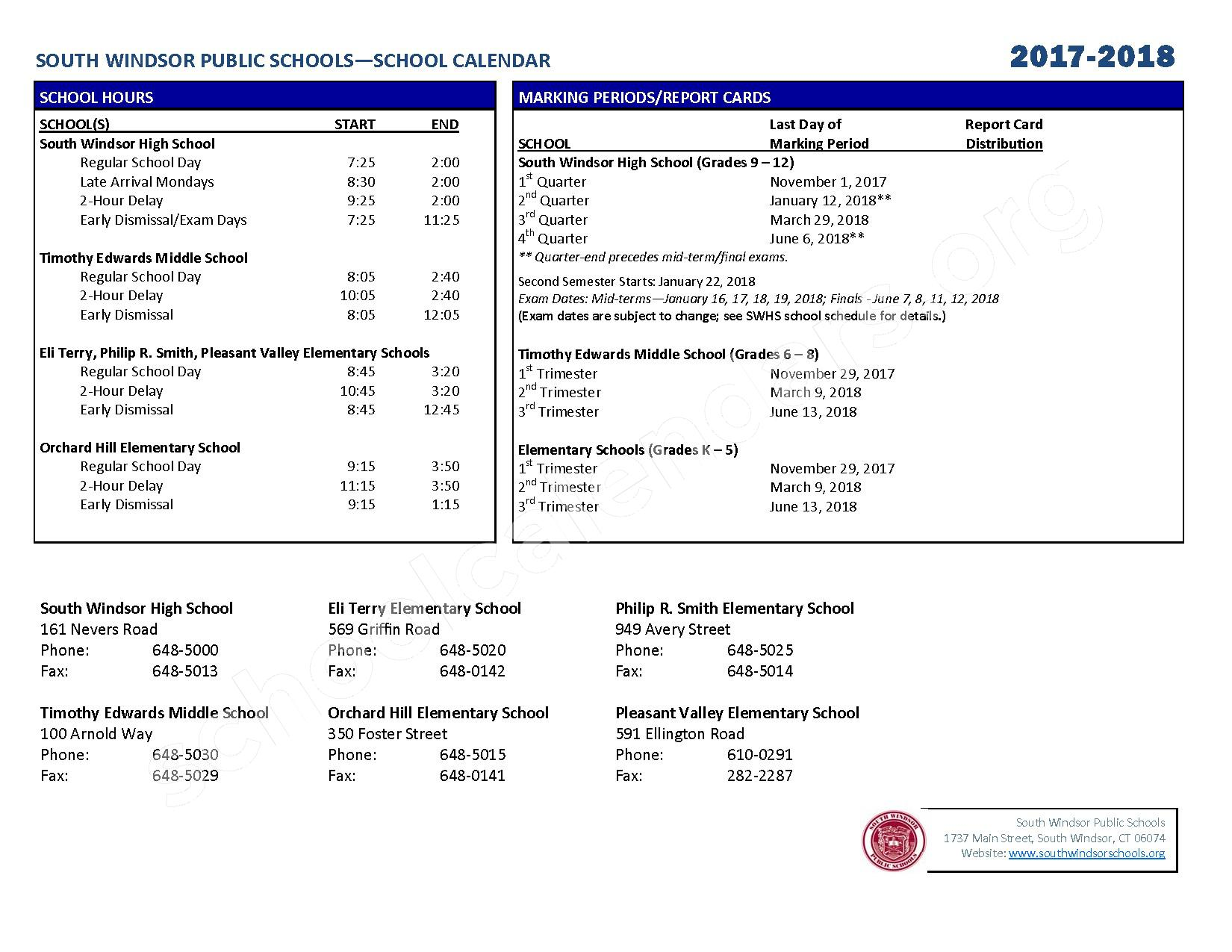 2017 - 2018 District Calendar – South Windsor Public Schools – page 2