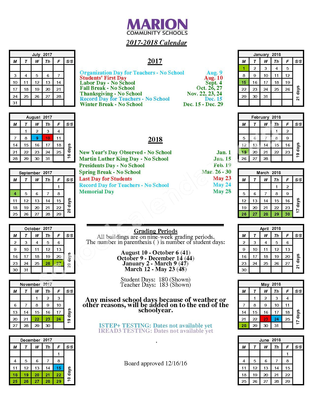 2017 - 2018 Student Calendar – Marion Community Schools – page 1