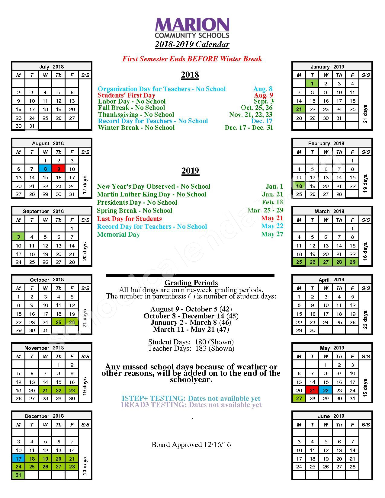 2018 - 2019 Student Calendar – Marion Community Schools – page 1