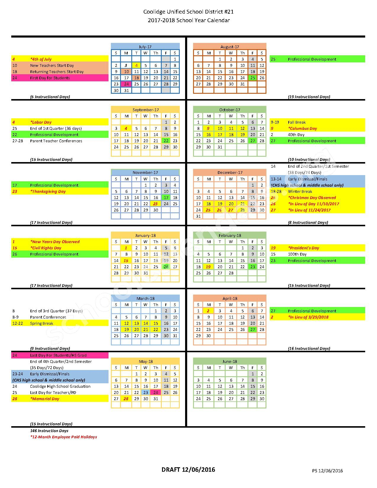 2017 - 2018 School Calendar – Coolidge Unified School District 21 – page 1