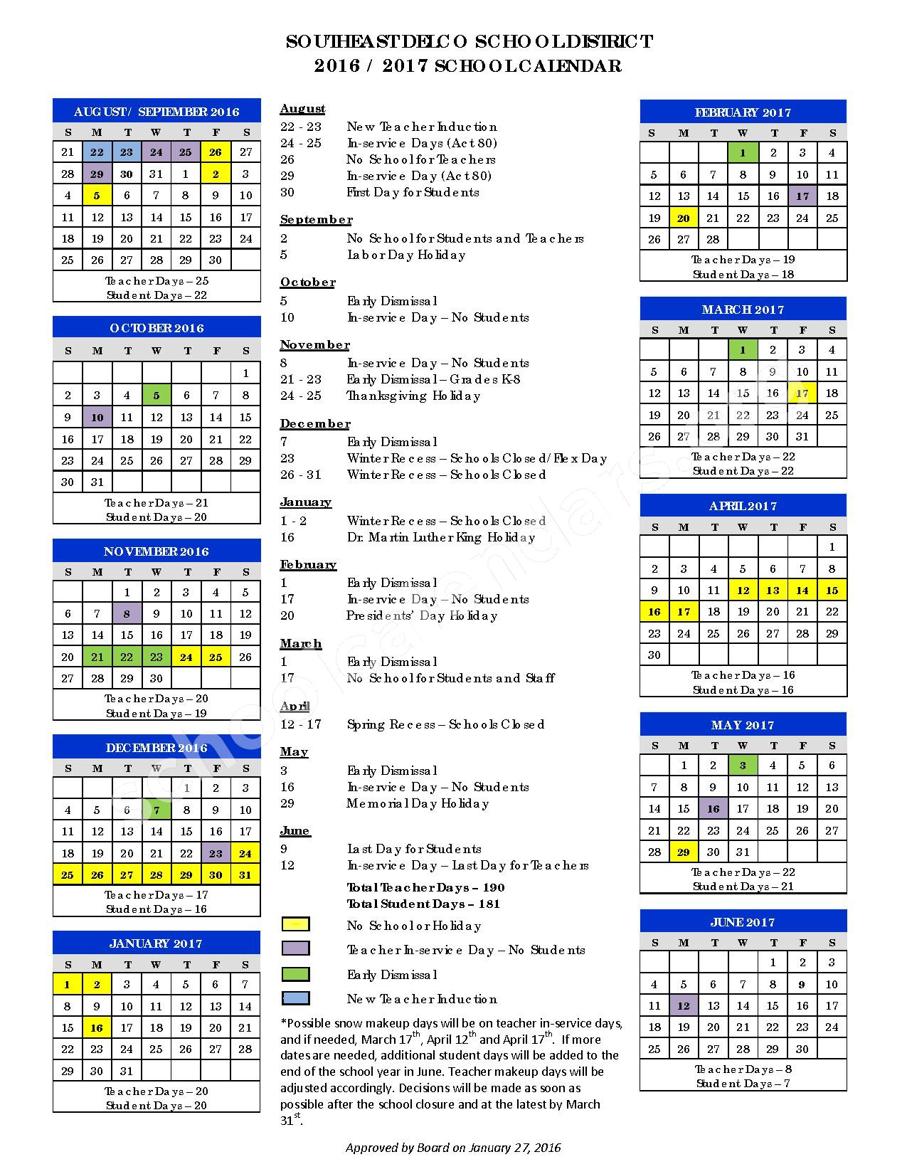2016 - 2017  District Calendar – Delcroft School – page 1