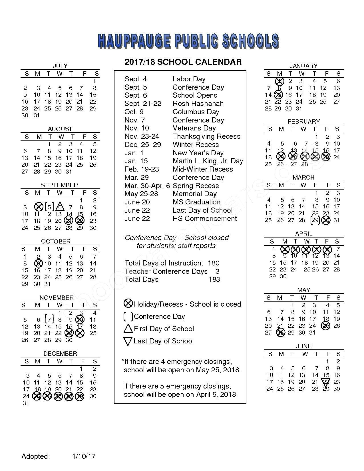 2017 - 2018 School Calendar – Hauppauge Union Free School District – page 1
