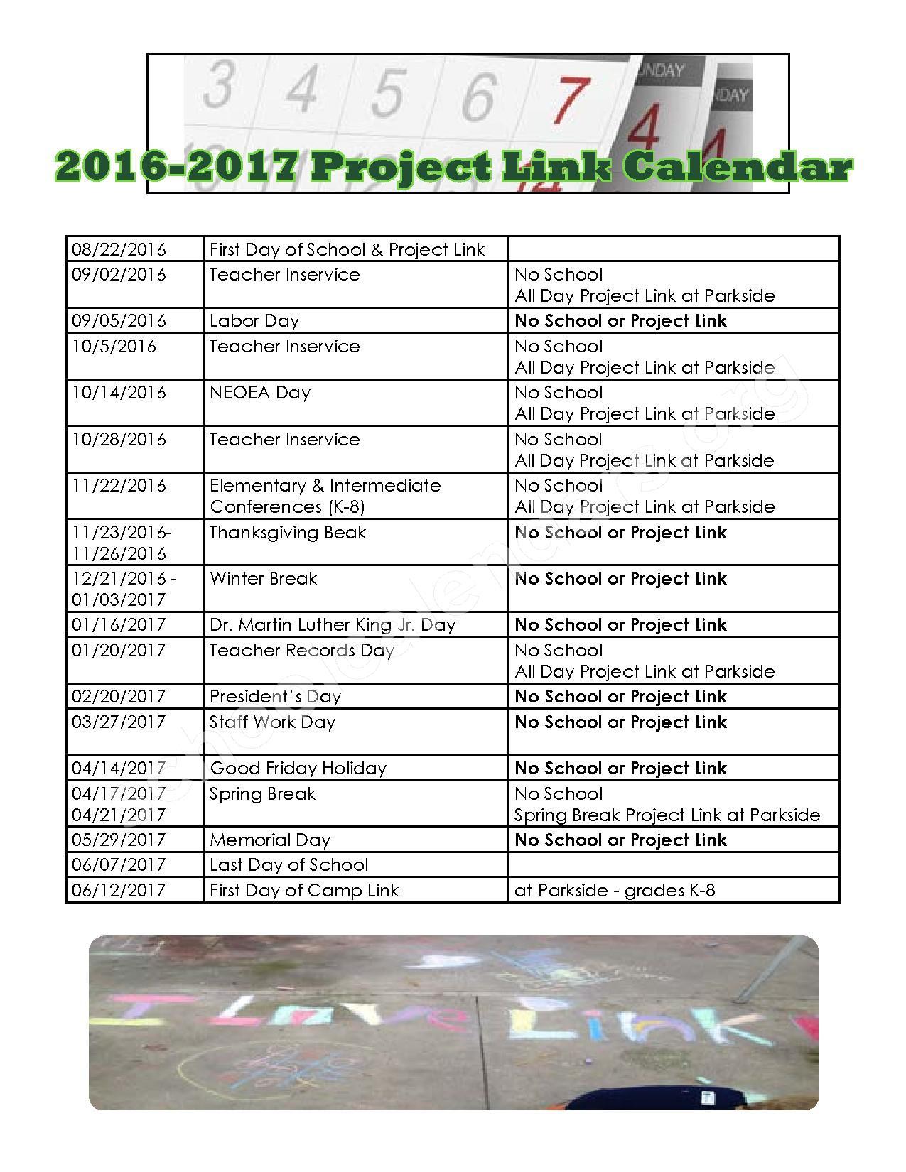 2016 - 2017 School Calendar – Holly Lane Elementary School – page 1