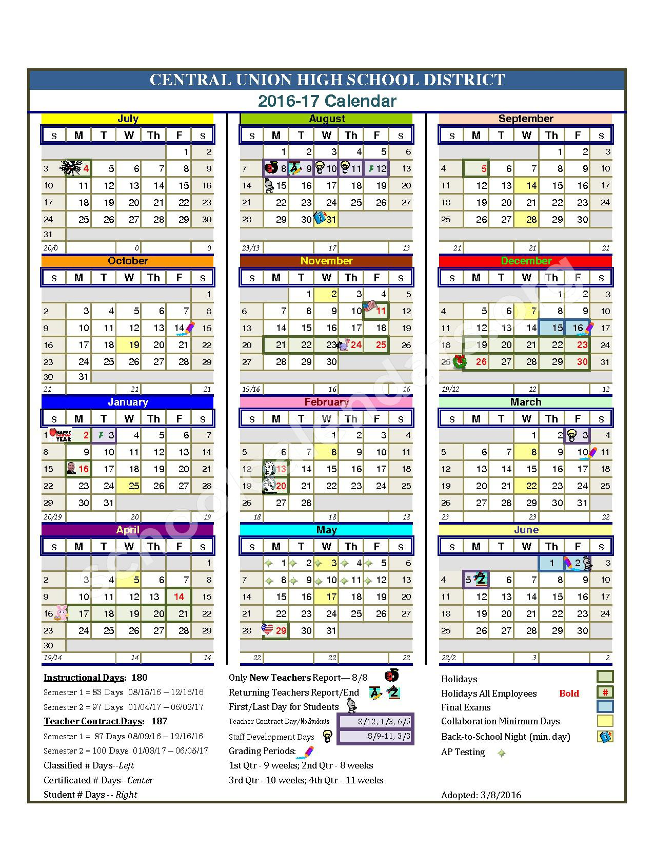bremen high school calendar 2017