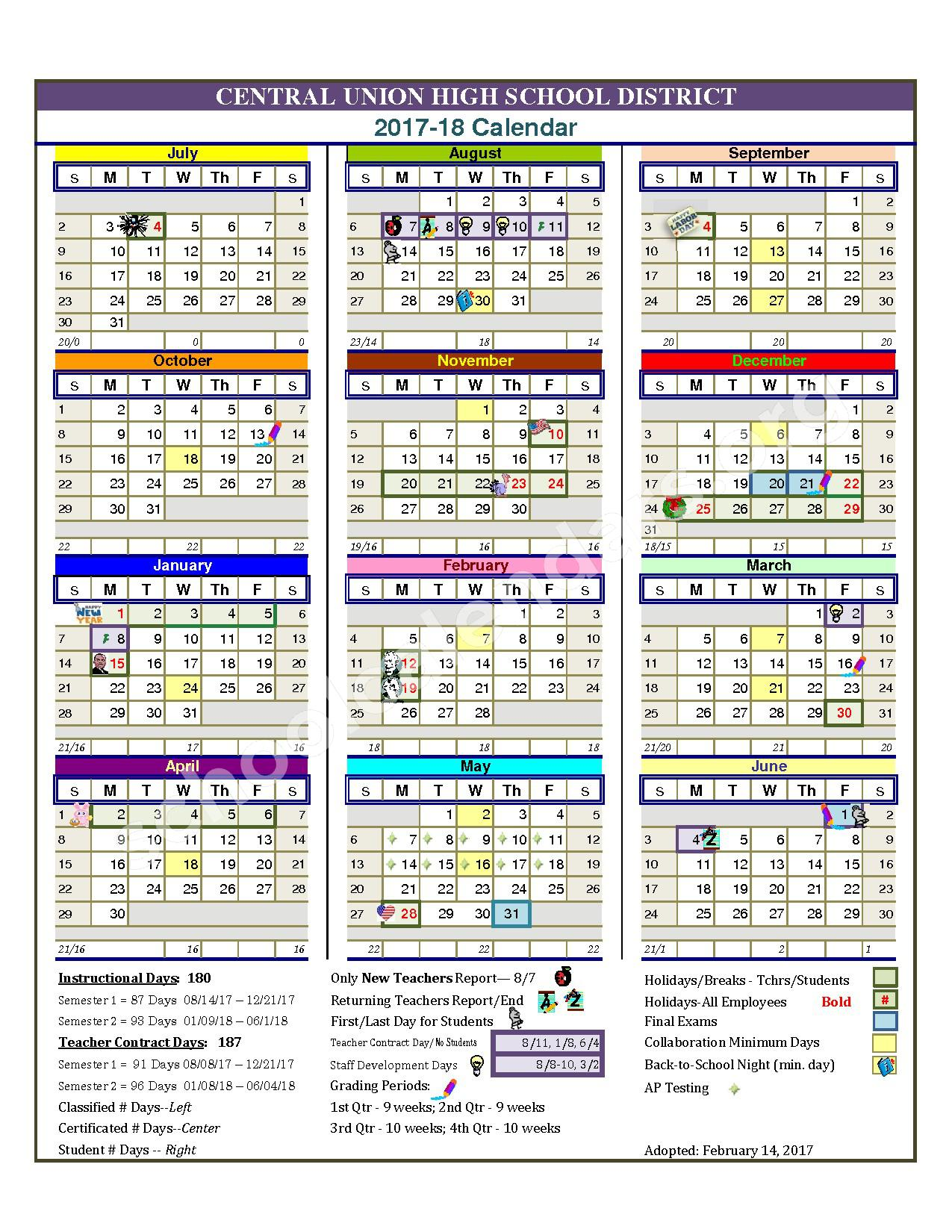 2017 - 2018 School Calendar – Central Union High School District – page 1